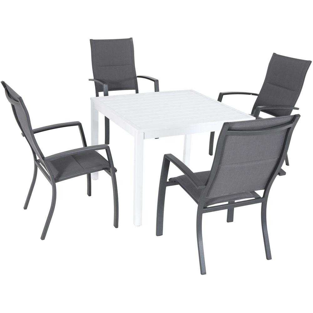 Hanover Del Mar 5 Piece Aluminum Outdoor Dining Set With 4 Padded Sling  Chairs And A 38 In. Square Dining Table In Most Recently Released Delmar 5 Piece Dining Sets (Photo 6 of 20)