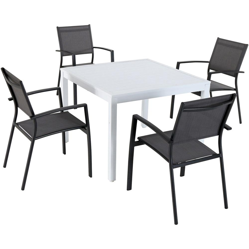 Hanover Del Mar 5 Piece Aluminum Outdoor Dining Set With 4 Sling Arm Chairs And A 38 In (View 2 of 20)