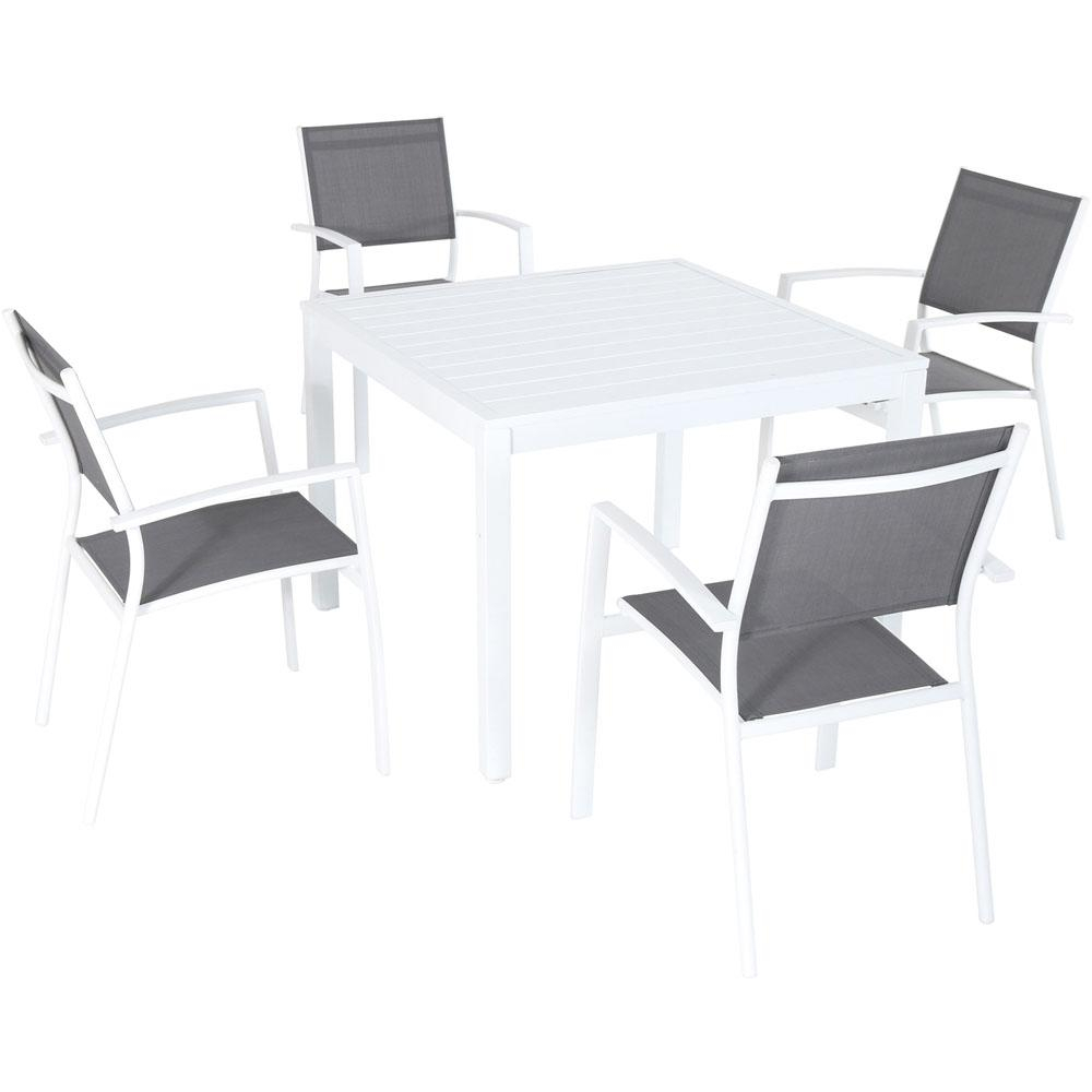 Hanover Del Mar 5 Piece Aluminum Outdoor Dining Set With 4 Sling Arm Chairs And A 38 In (View 3 of 20)