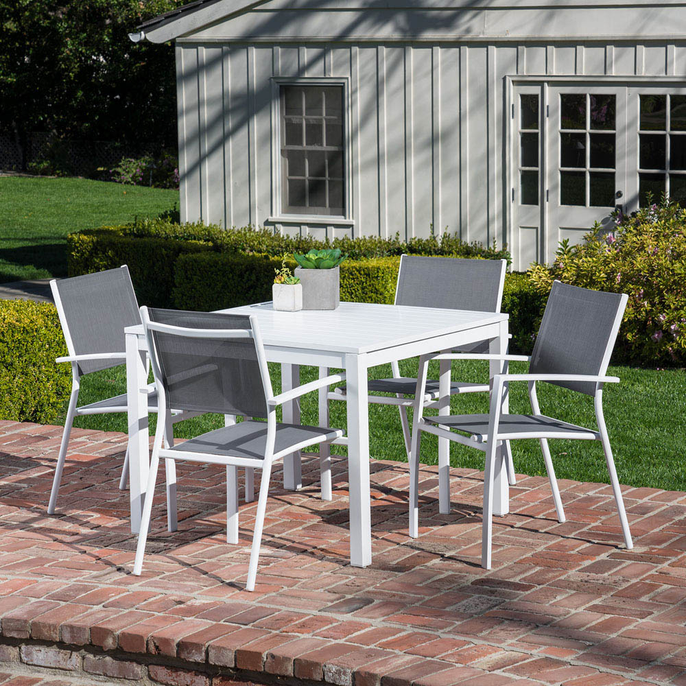 Hanover Del Mar 5 Piece Outdoor Dining Set With 4 Sling Arm Chairs And A 38 In 2017 Delmar 5 Piece Dining Sets (View 8 of 20)