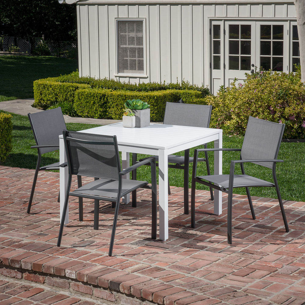Hanover Del Mar 5 Piece Outdoor Dining Set With 4 Sling Arm Chairs And A 38 Pertaining To 2017 Delmar 5 Piece Dining Sets (View 9 of 20)