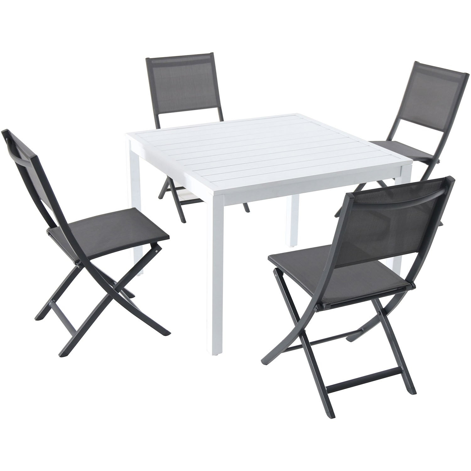 "Hanover Del Mar 5 Piece Outdoor Dining Set With 4 Sling Folding Chairs And A 38"" Square Dining Table Pertaining To Best And Newest Delmar 5 Piece Dining Sets (View 10 of 20)"