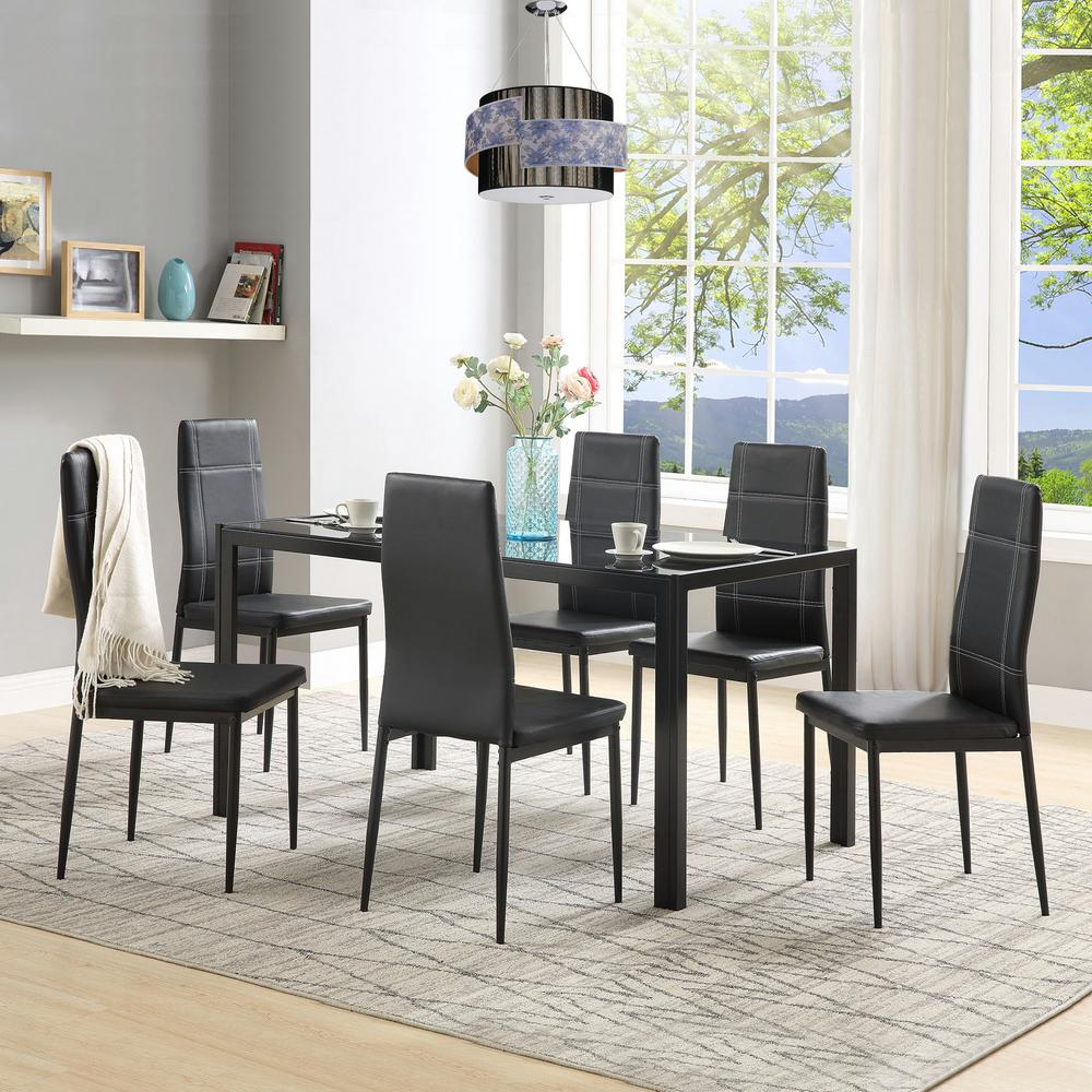 Harper & Bright Designs 7 Piece Black Dining Set Glass Top Metal For Most Up To Date Maynard 5 Piece Dining Sets (Photo 12 of 20)