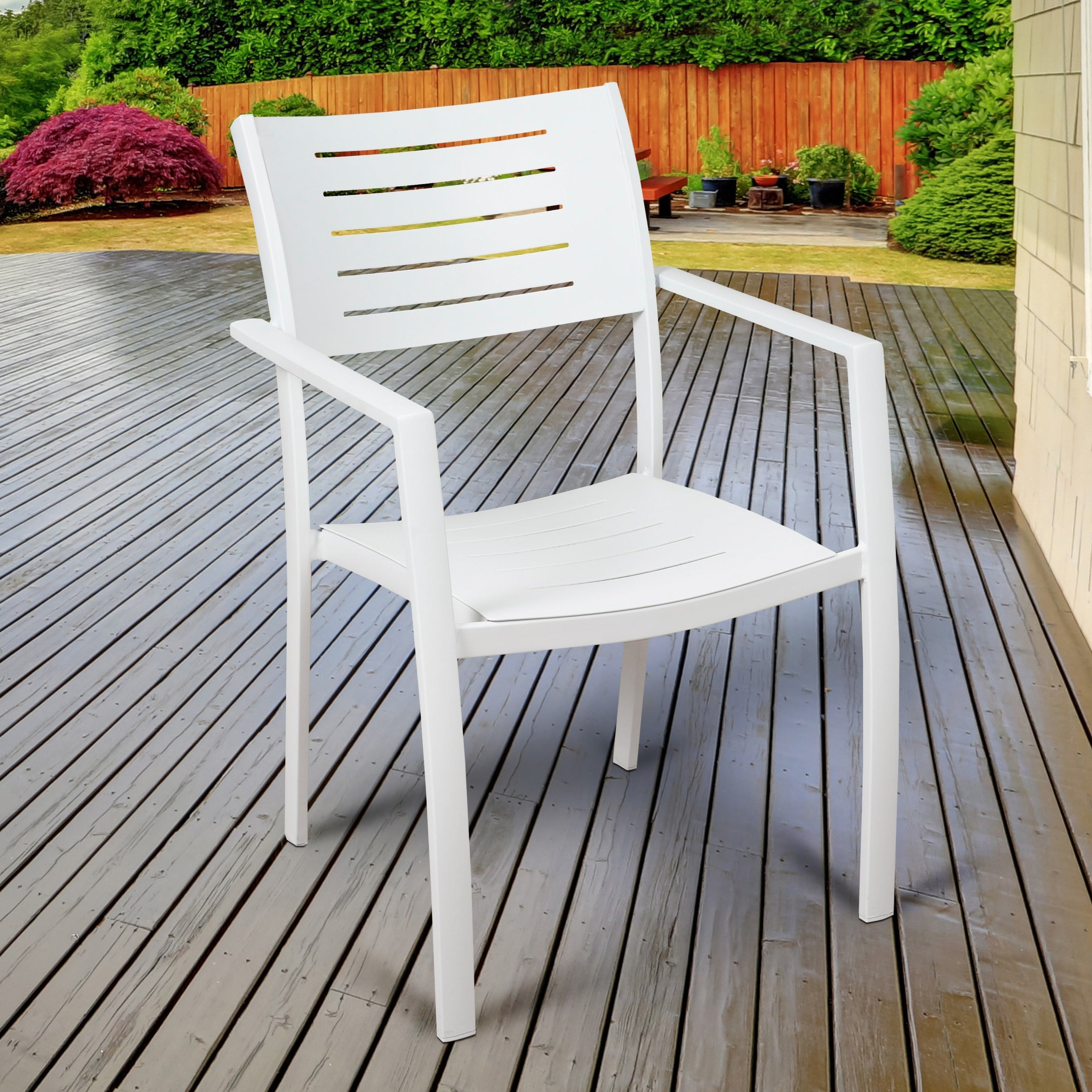 Havenside Home Mandalay 4 Piece Patio Dining Chairs, White Intended For Most Popular John 4 Piece Dining Sets (Image 7 of 20)