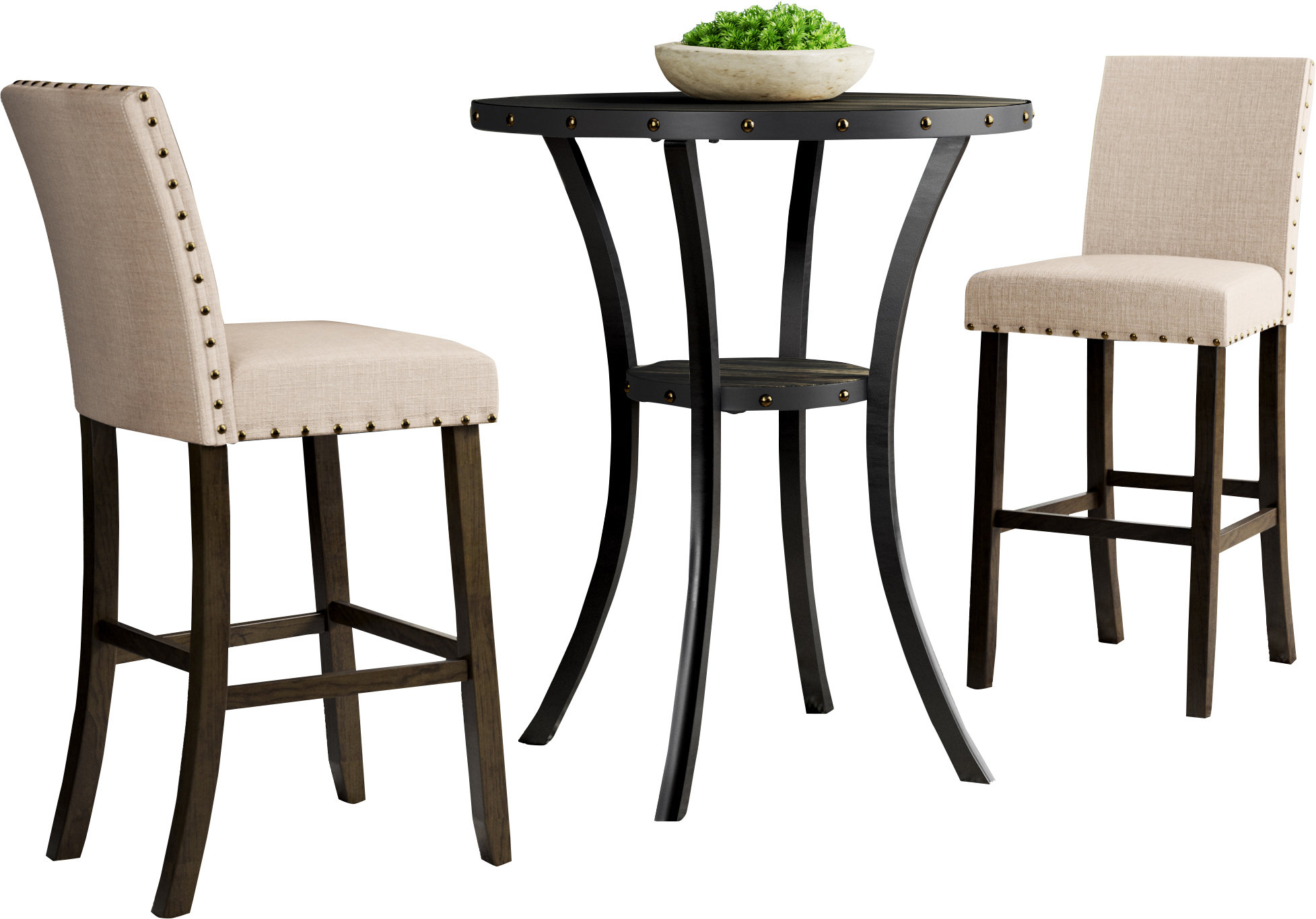 Haysi 3 Piece Pub Table Set For Most Popular Smyrna 3 Piece Dining Sets (Photo 17 of 20)