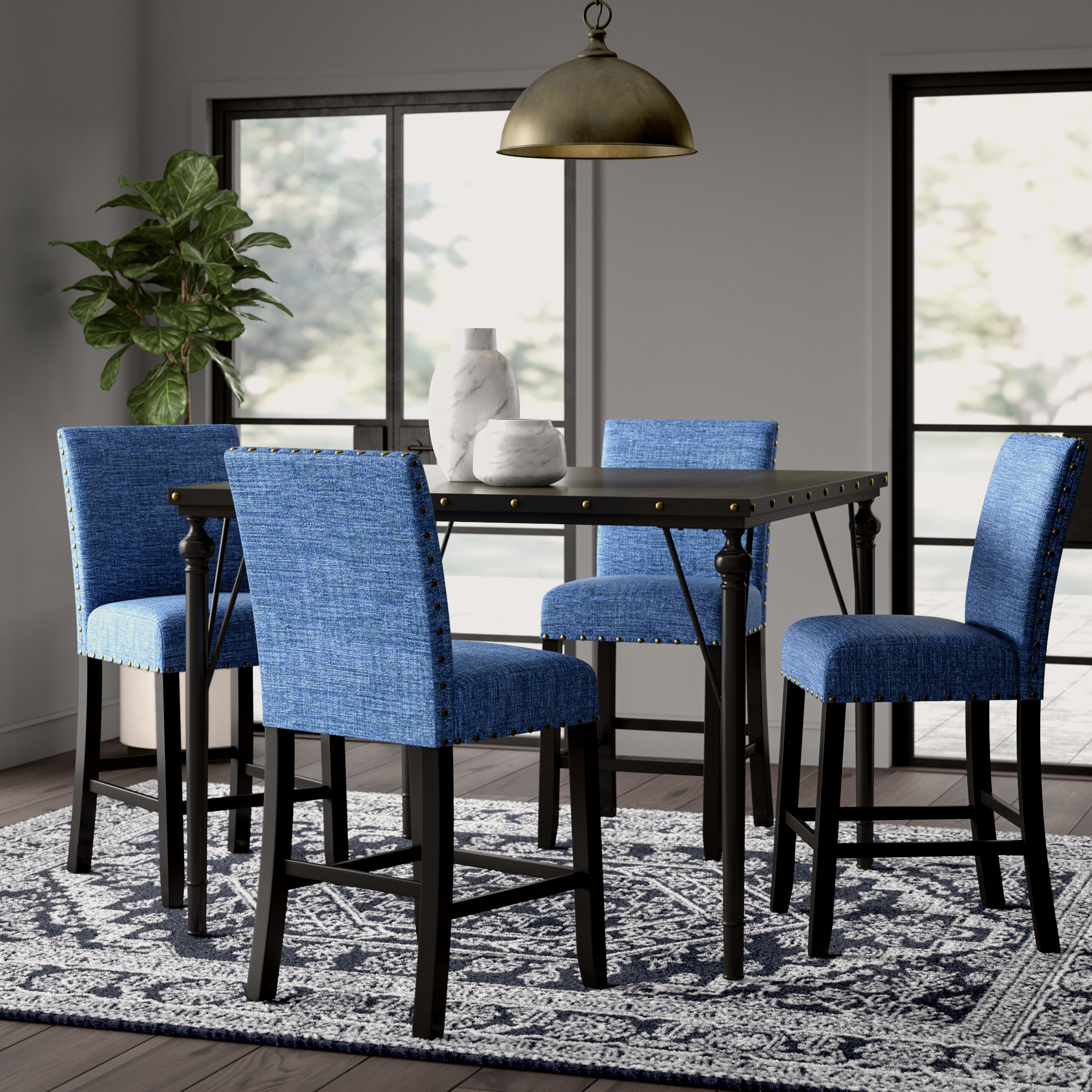 Haysi Wood Counter Height 5 Piece Dining Set With Fabric Nailhead Chairs In Most Recently Released Bryson 5 Piece Dining Sets (Image 14 of 20)