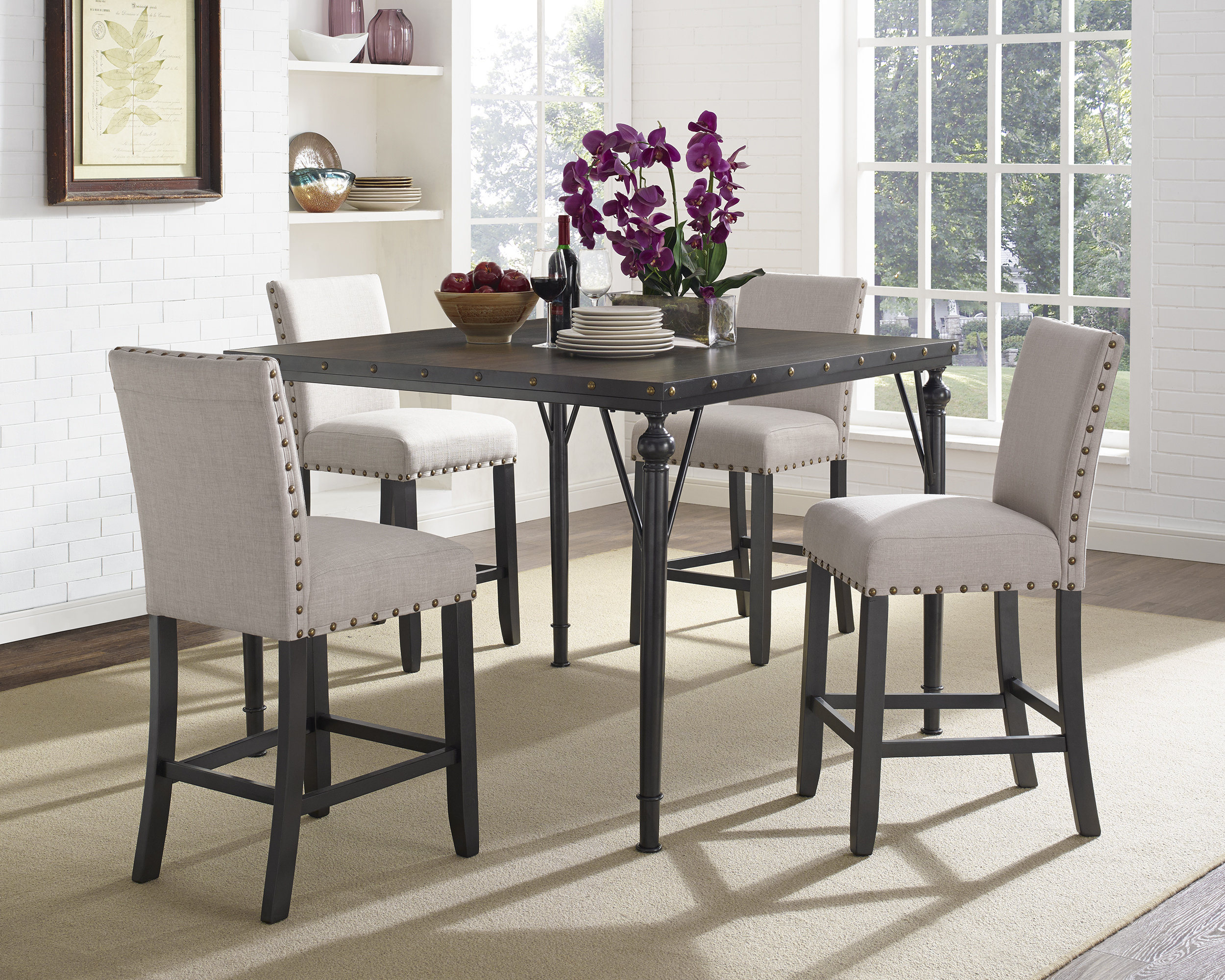 Haysi Wood Counter Height 5 Piece Dining Set With Fabric Nailhead Chairs Intended For Recent Bryson 5 Piece Dining Sets (Image 15 of 20)