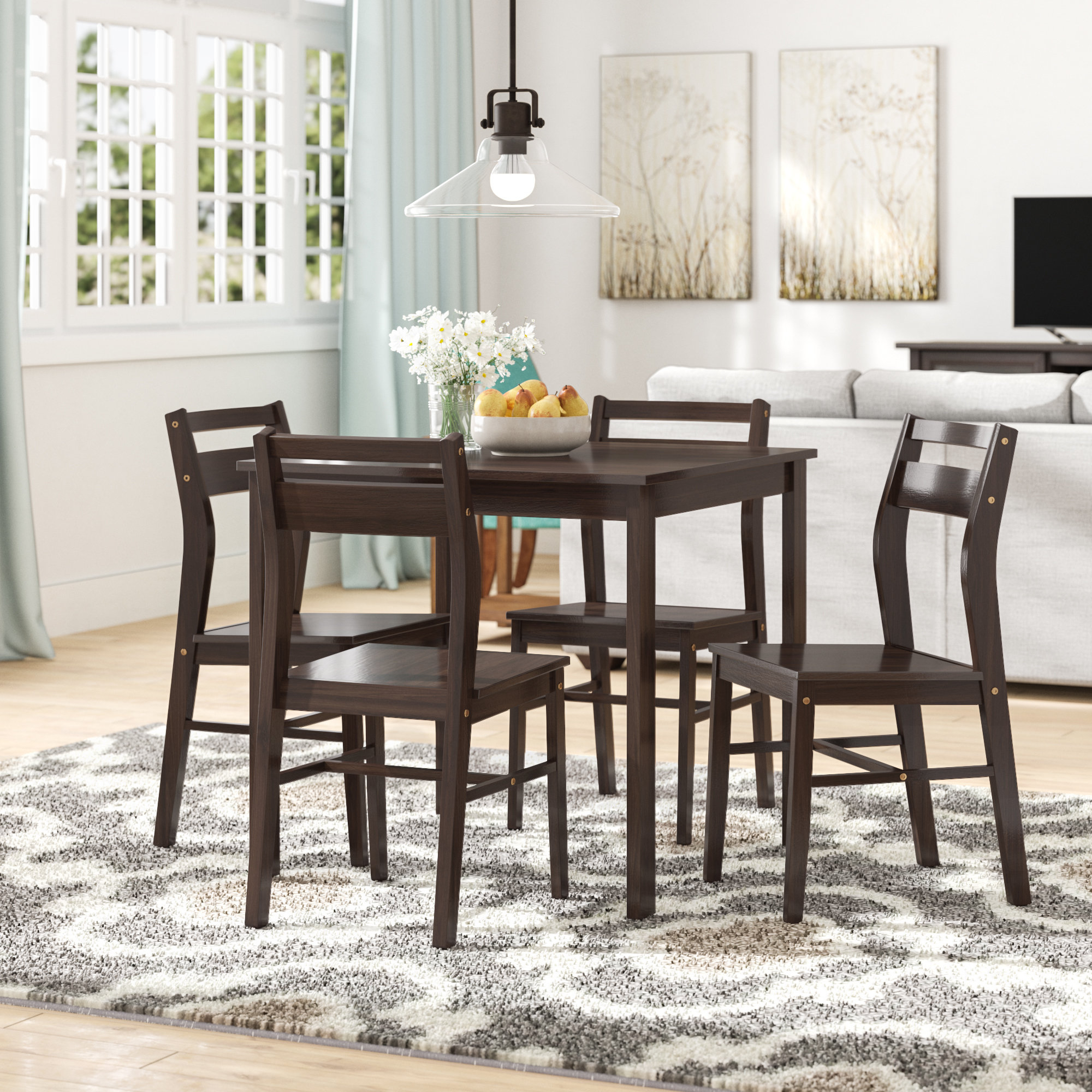 Hersom 5 Piece Dining Set Pertaining To Most Up To Date Mukai 5 Piece Dining Sets (View 9 of 20)