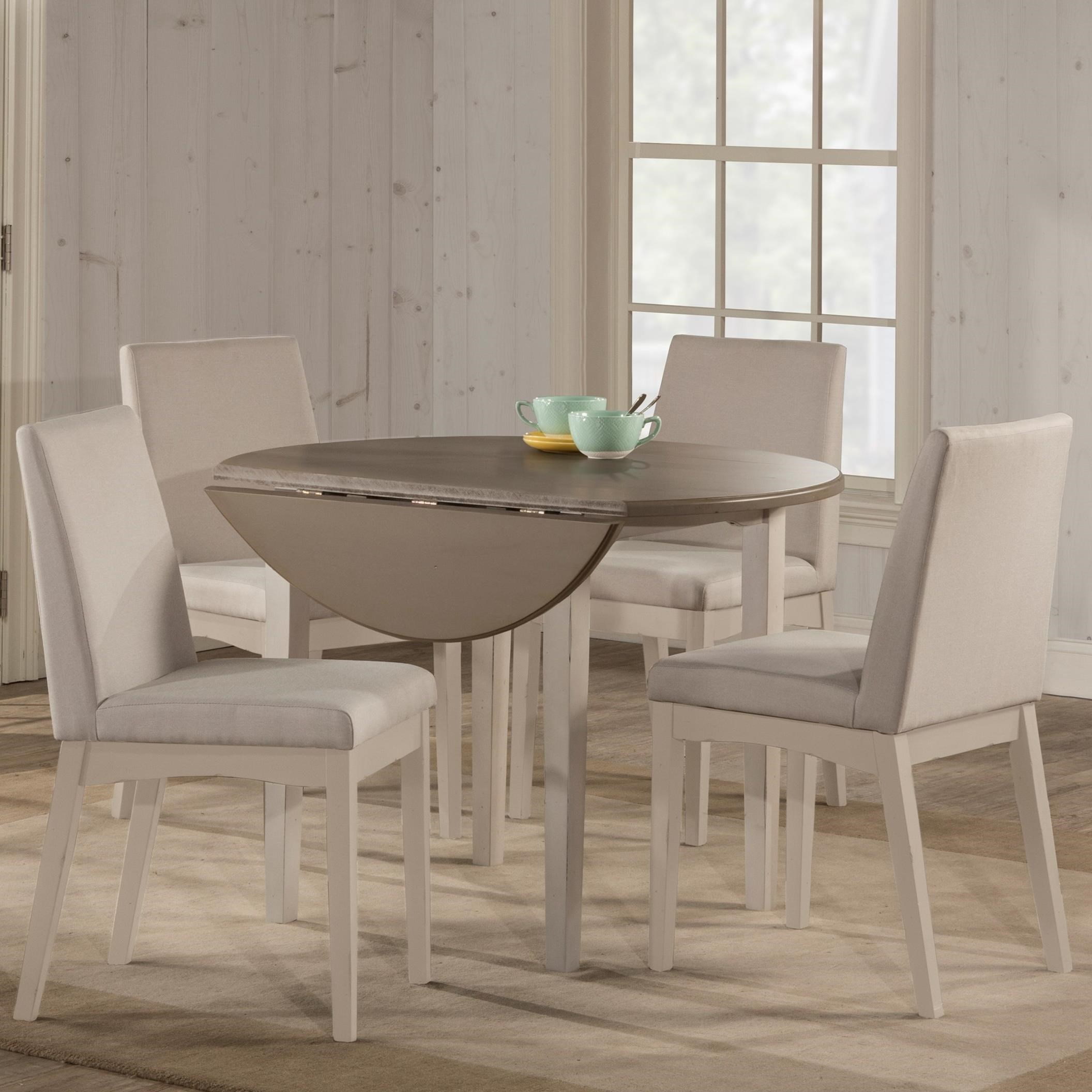 Hillsdale Clarion 5 Piece Dining Set With Drop Leaf Table And Parson With Newest Smyrna 3 Piece Dining Sets (View 15 of 20)