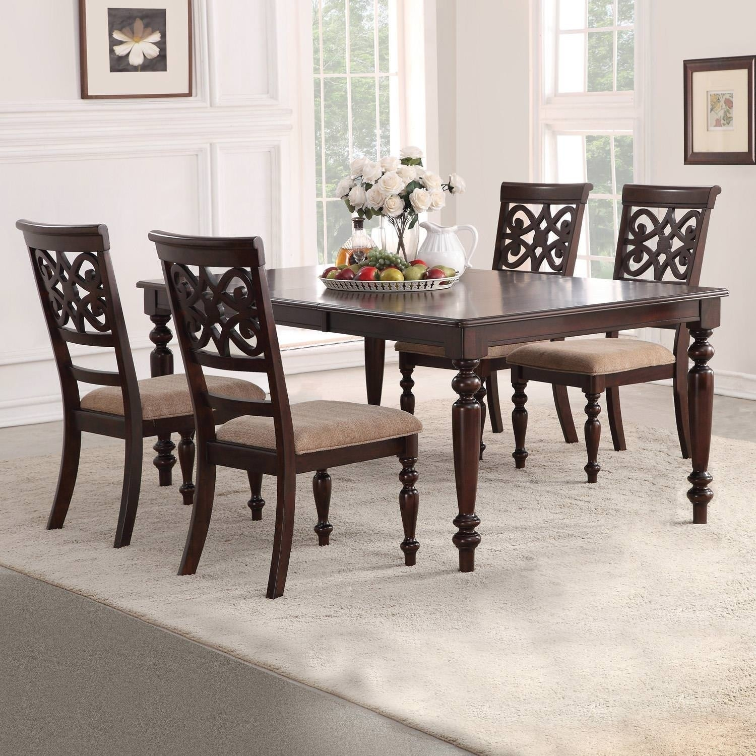 Home Source Laconia Walnut 5 Piece Dining Set Intended For 2018 Laconia 7 Pieces Solid Wood Dining Sets (Set Of 7) (View 12 of 20)