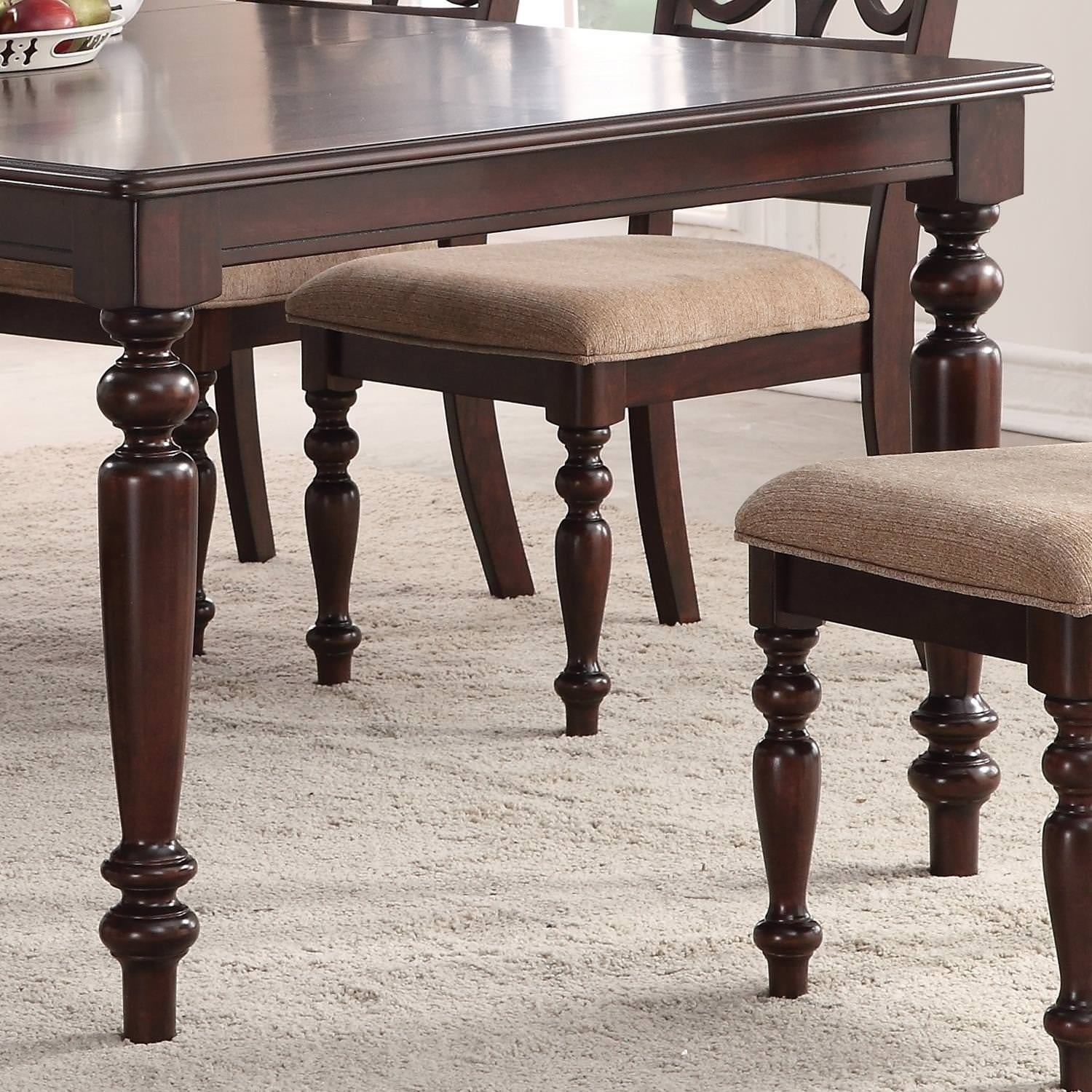 Home Source Laconia Walnut 5 Piece Dining Set Within Most Recently Released Laconia 7 Pieces Solid Wood Dining Sets (Set Of 7) (Photo 7 of 20)