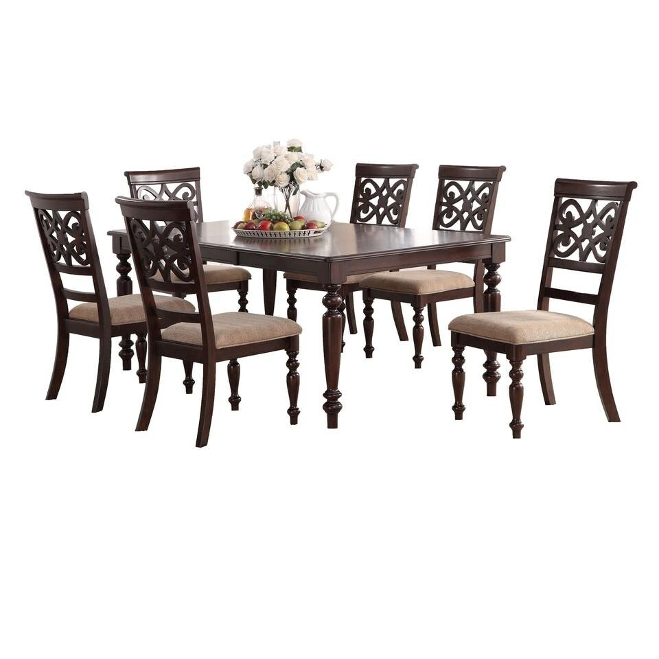 Home Source Laconia Walnut 7 Piece Dining Set Pertaining To Most Recent Laconia 7 Pieces Solid Wood Dining Sets (Set Of 7) (View 3 of 20)