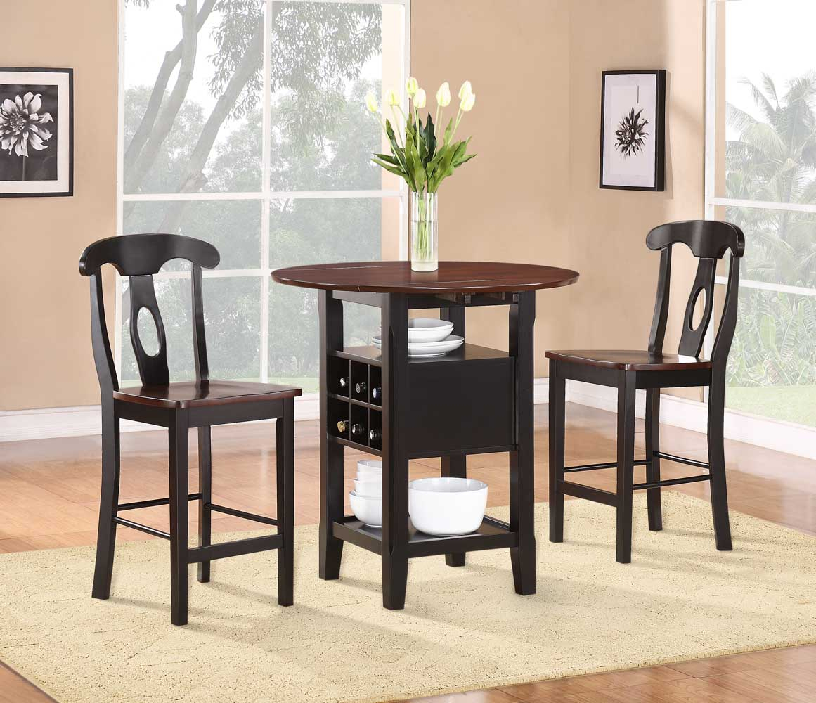 Homelegance Atwood 3 Piece Counter Height Dining Set In Current 3 Piece Dining Sets (View 9 of 20)