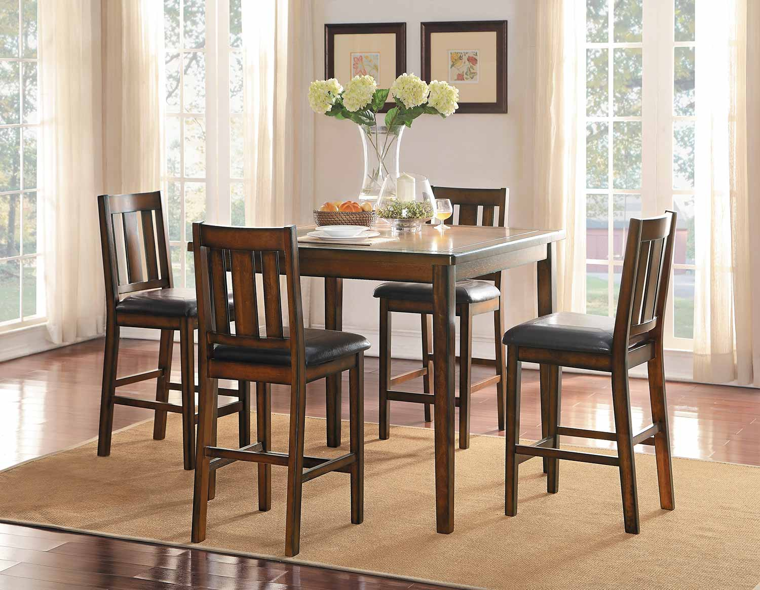 Homelegance Delmar 5 Piece Pack Counter Height Dining Set – Burnish Finish With Most Up To Date Delmar 5 Piece Dining Sets (View 4 of 20)