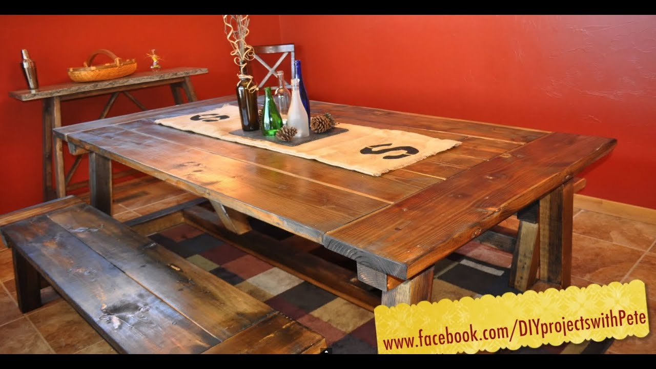 How To Build A Farmhouse Table – The Most Complete Video Online – Episode 7 Throughout Most Up To Date Falmer 3 Piece Solid Wood Dining Sets (Photo 20 of 20)
