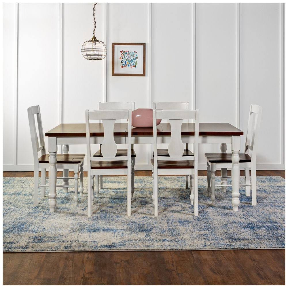 Huntsman Brown And White 7 Piece Dining Table And Chair Set – Style In Most Recent Tavarez 5 Piece Dining Sets (Image 10 of 20)