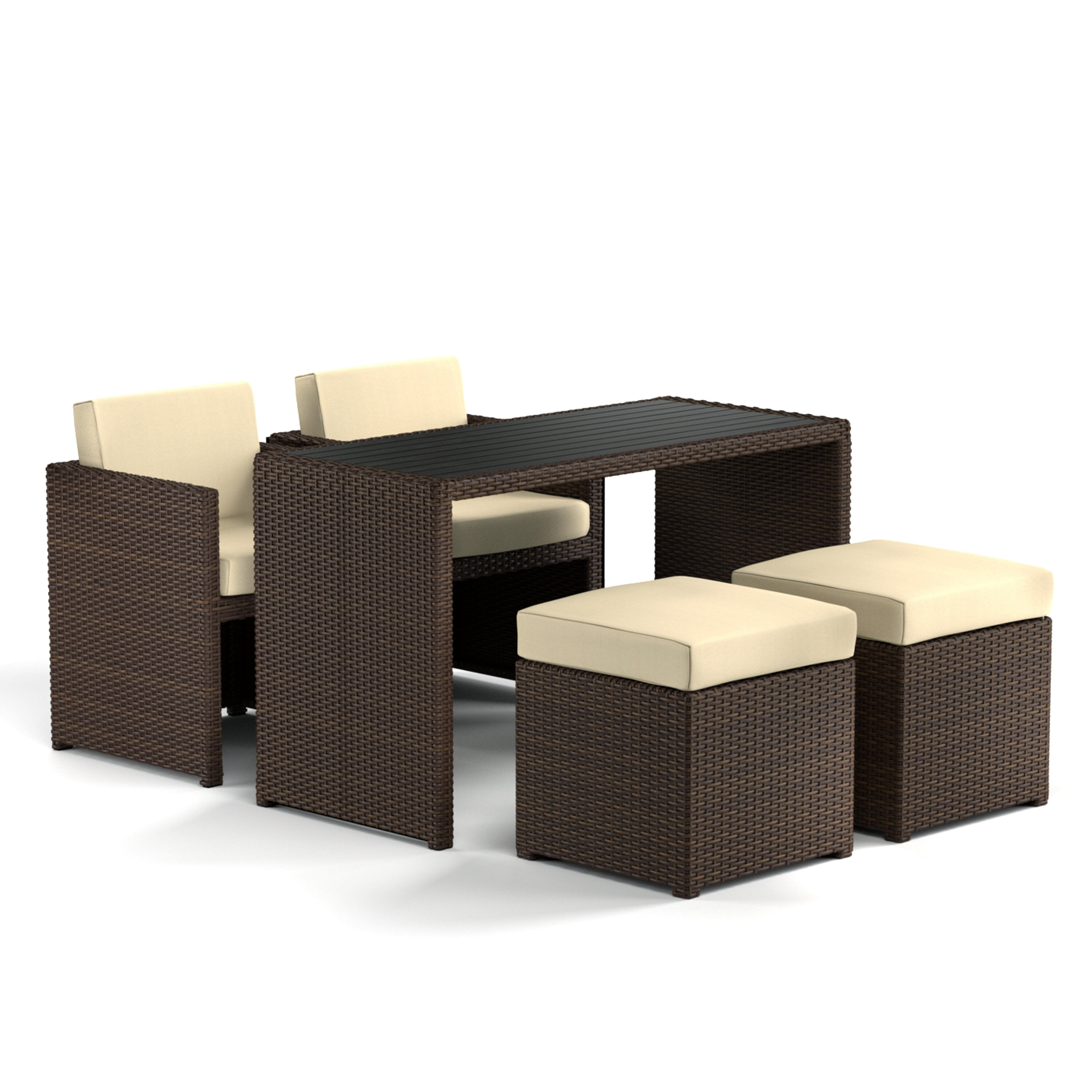 Insley 5 Piece Dining Set With Cushion With Most Up To Date Berrios 3 Piece Counter Height Dining Sets (View 15 of 20)