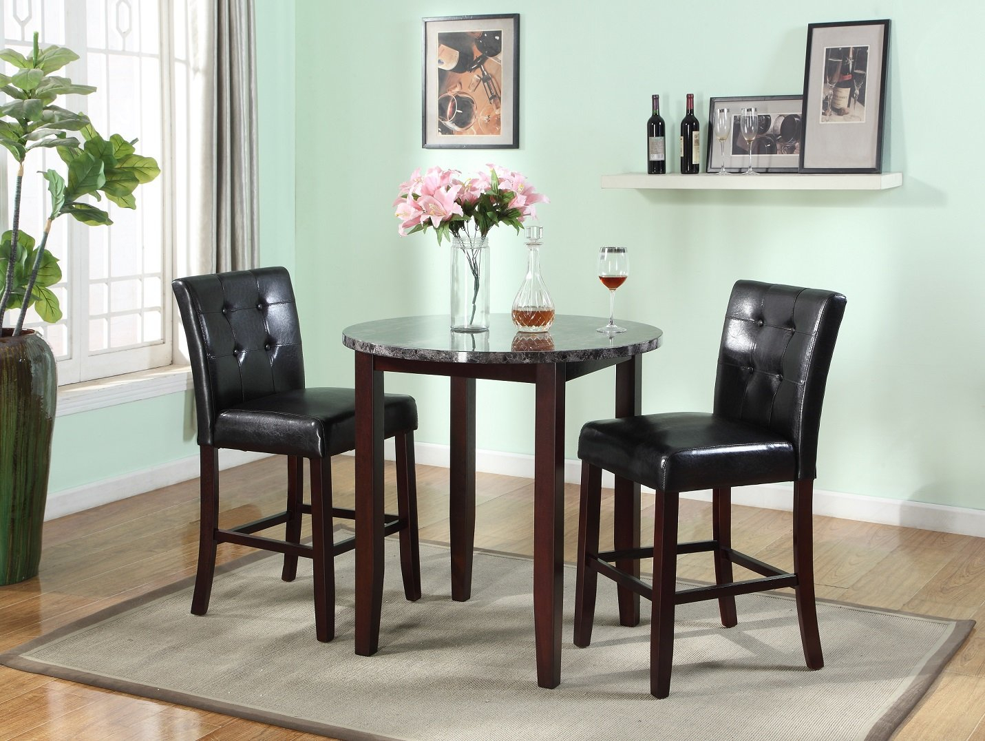 Janmarie 3 Piece Counter Height Dining Set Throughout Best And Newest Mizpah 3 Piece Counter Height Dining Sets (Image 12 of 20)