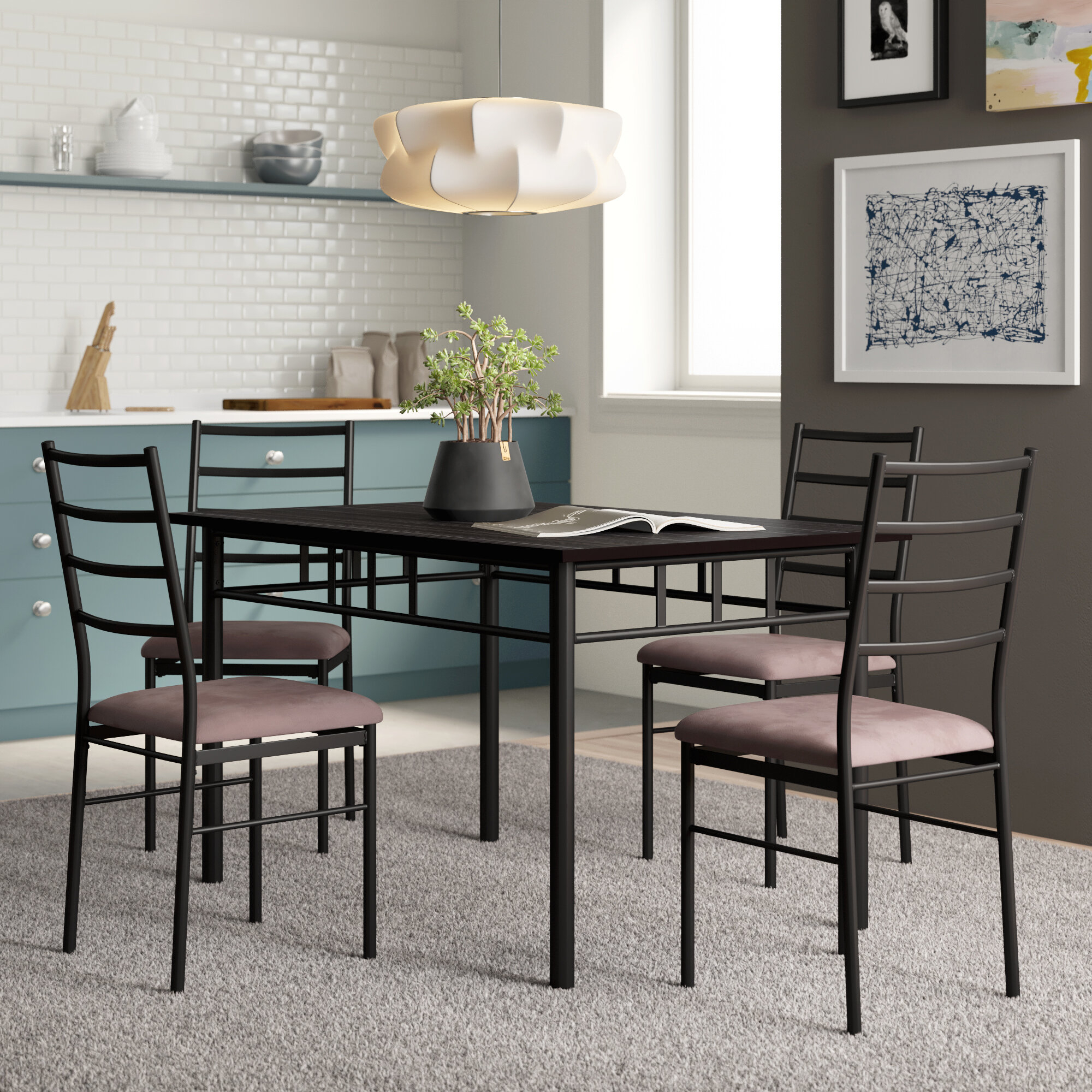 Jarrod 5 Piece Dining Set Inside Most Up To Date Casiano 5 Piece Dining Sets (Image 10 of 20)