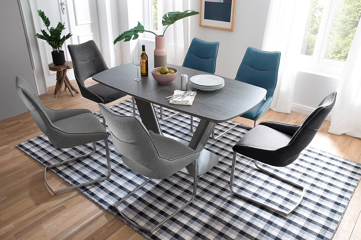 Jarrod Grey And Anthracite Ceramic Extending Dining Table 160Cm Inside 2017 Jarrod 5 Piece Dining Sets (Photo 15 of 20)
