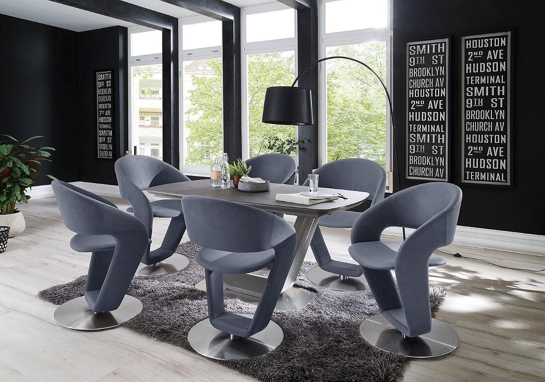 Jarrod Grey / Anthracite Ceramic Extending Dining Table 160Cm Intended For Newest Jarrod 5 Piece Dining Sets (Image 9 of 20)