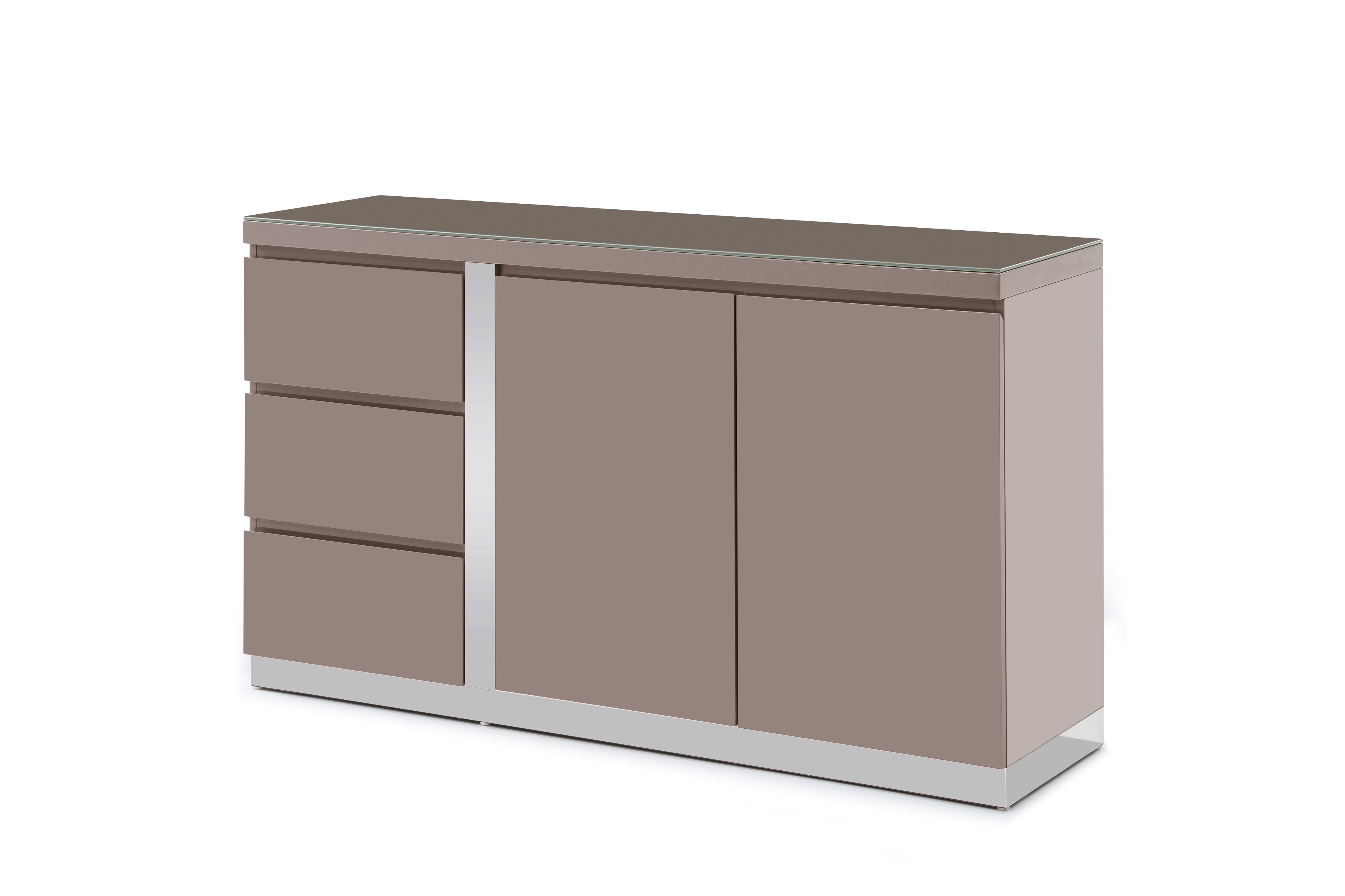 Jarrod Taupe High Gloss Sideboard 140Cm Throughout Newest Jarrod 5 Piece Dining Sets (Image 12 of 20)