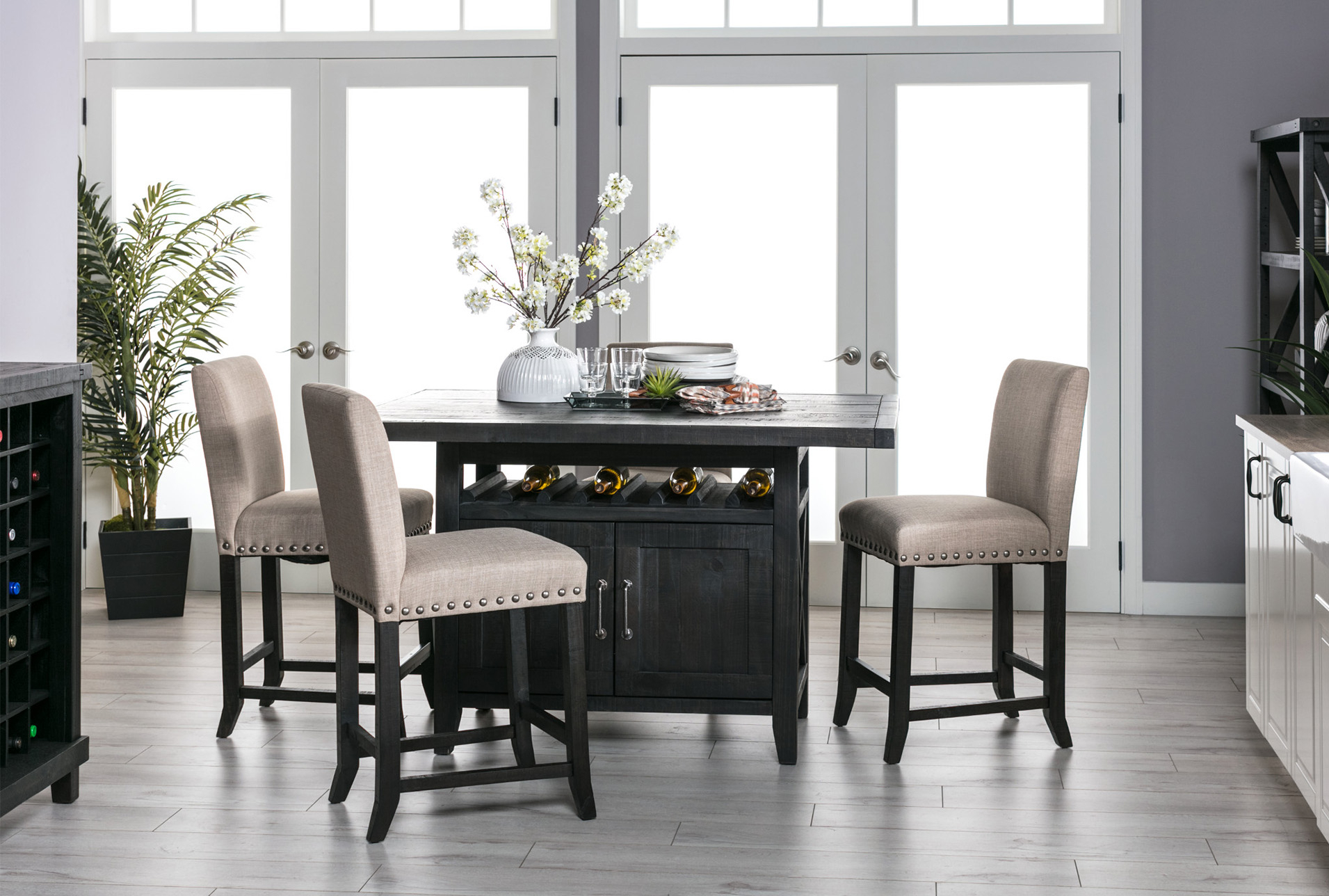 Jaxon 5 Piece Extension Counter Set W/fabric Stools | Products Throughout Best And Newest Jarrod 5 Piece Dining Sets (Image 13 of 20)