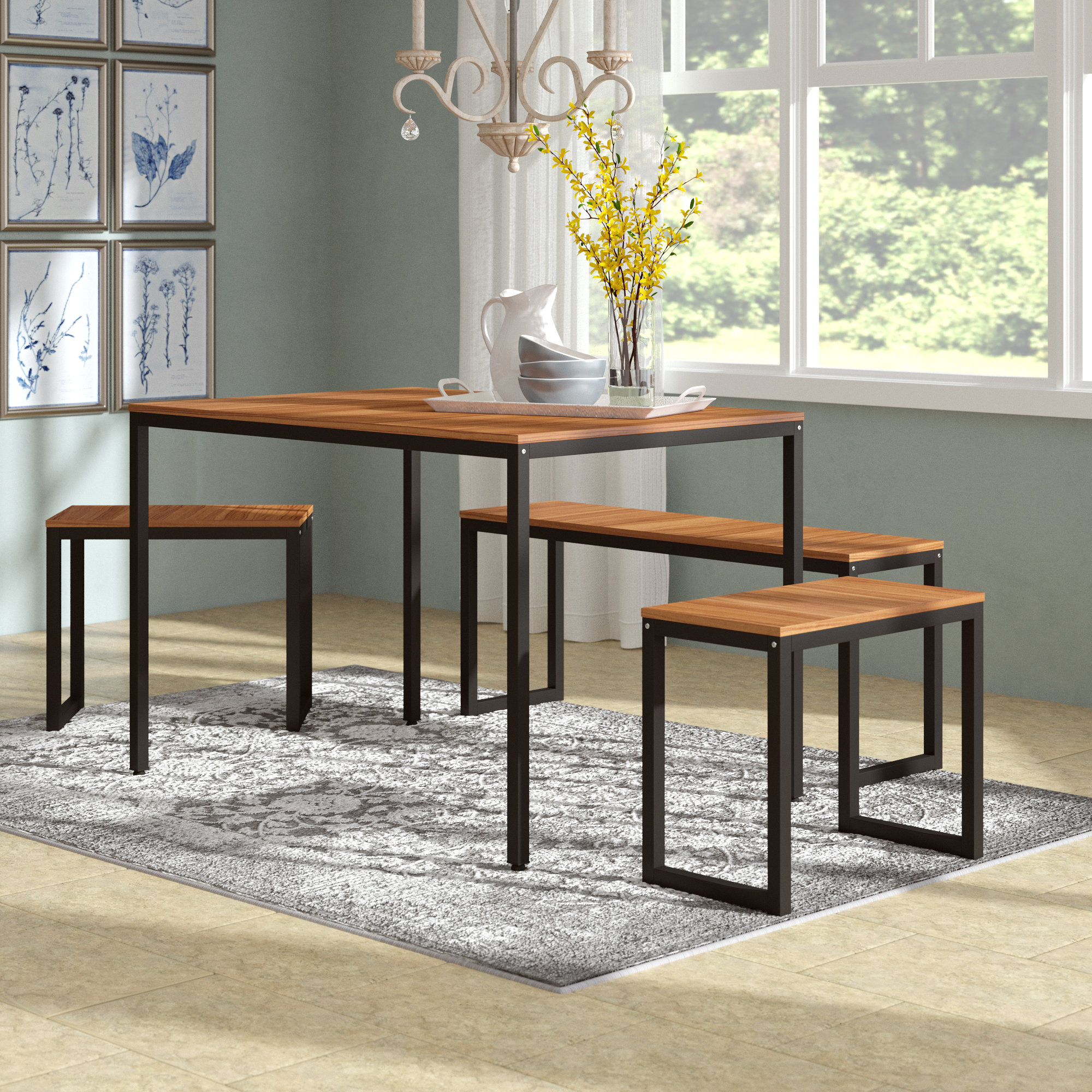 John 4 Piece Dining Set Throughout 2017 Isolde 3 Piece Dining Sets (Photo 9 of 20)