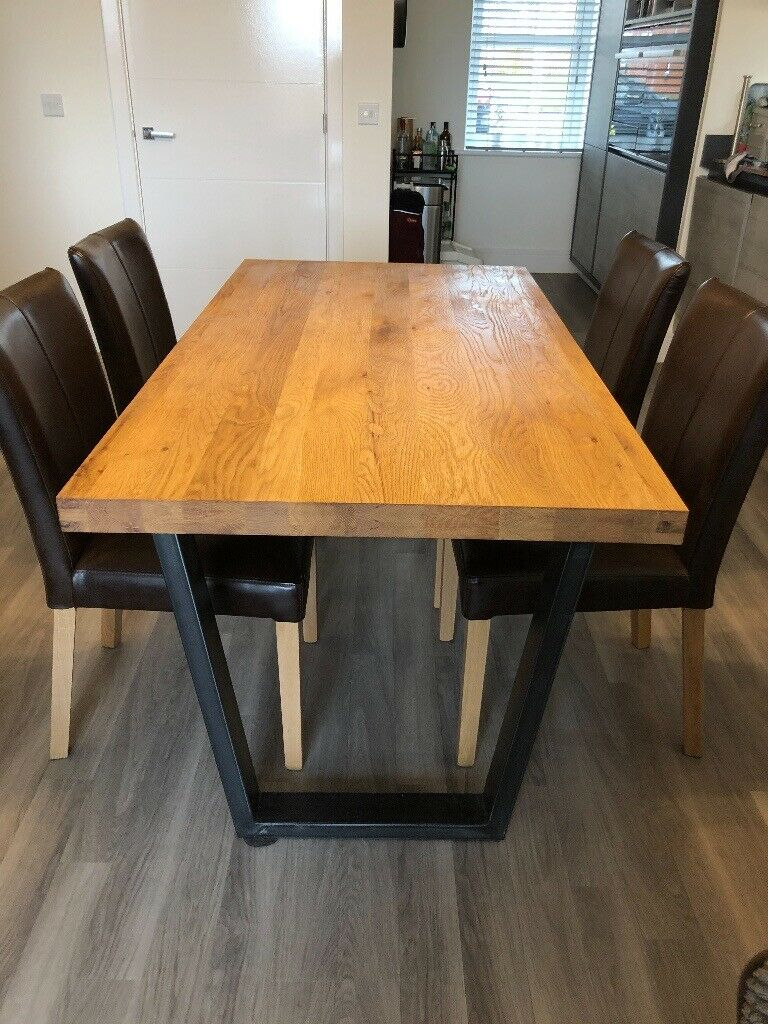 John Lewis Calia 6 Seater Dining Table, Oak And 4 Calia Brown Distressed  Leather Dinning Chairs | In Bishopton, Renfrewshire | Gumtree Intended For Most Recent John 4 Piece Dining Sets (Image 12 of 20)