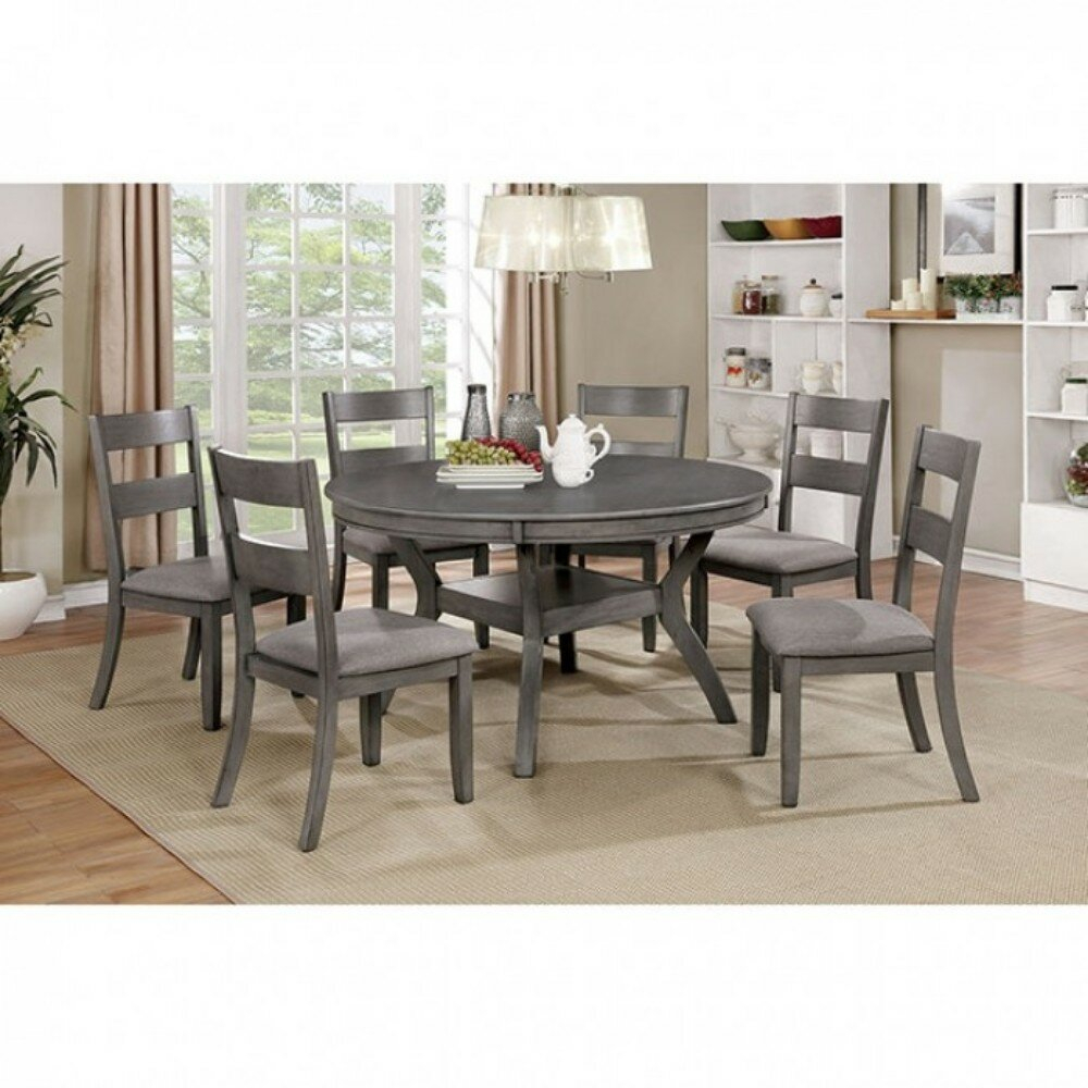 Juniper Transitional Style Round Dining Table With 4 Chairs – Grey Finish Intended For Recent Hanska Wooden 5 Piece Counter Height Dining Table Sets (Set Of 5) (View 12 of 20)