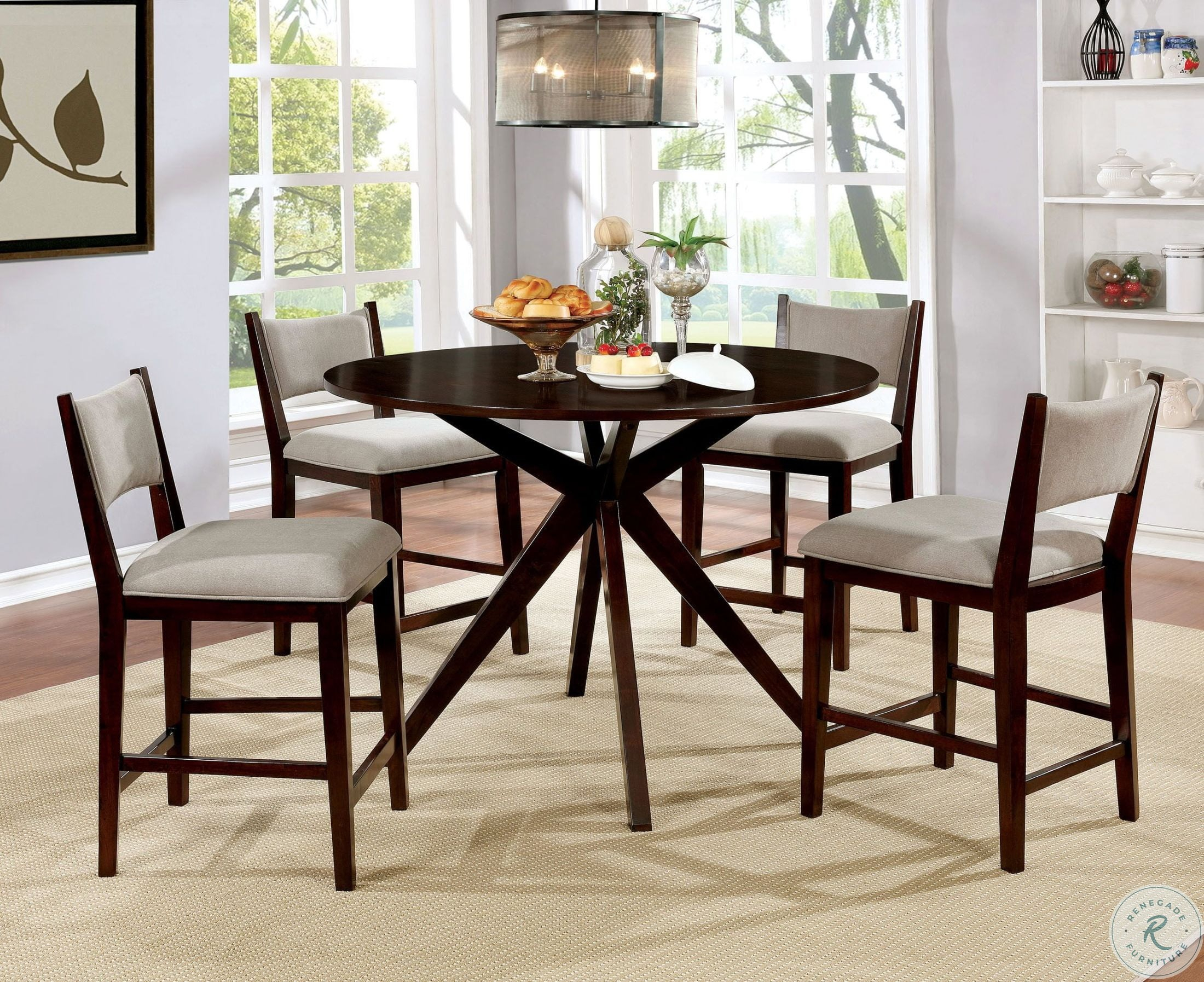 Kaidence Brown Cherry Round Counter Height Dining Room Set Throughout Most Recent Anette 3 Piece Counter Height Dining Sets (View 18 of 20)