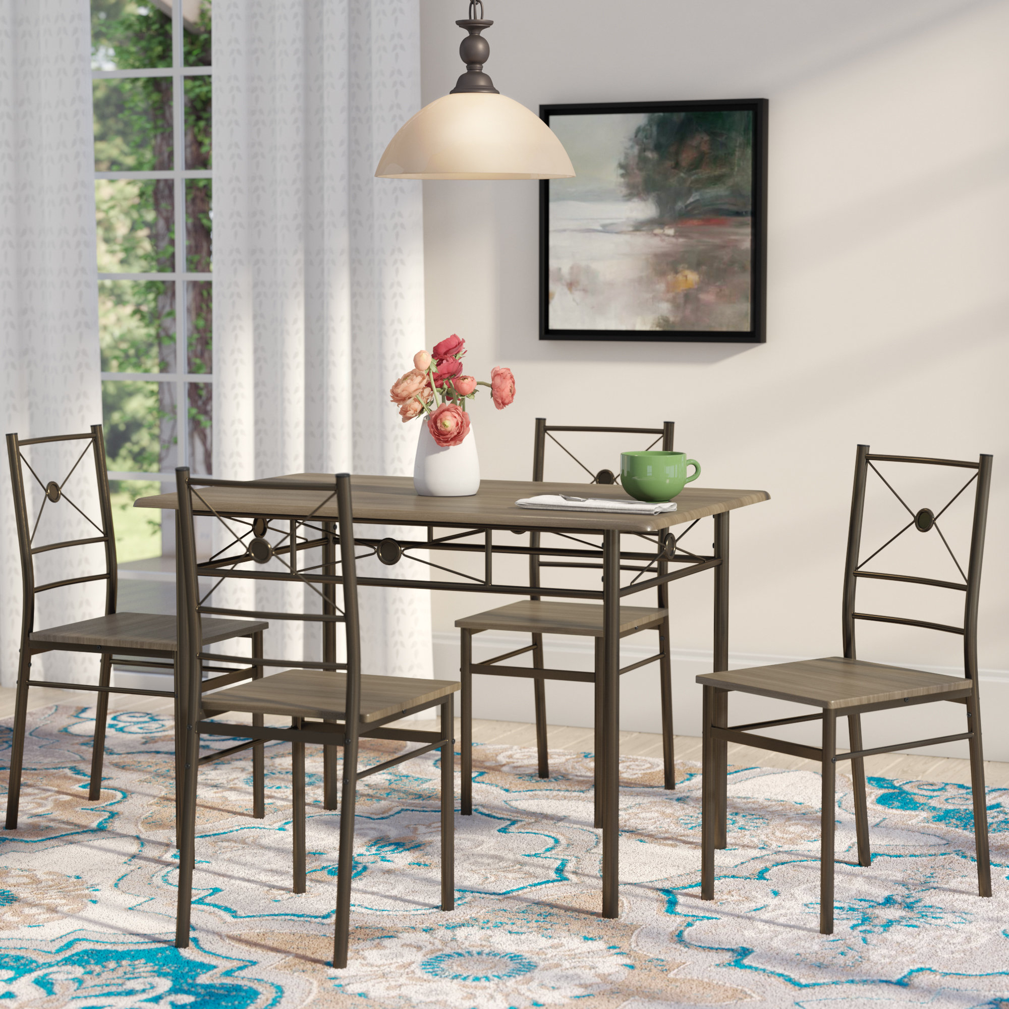 Kieffer 5 Piece Dining Set In Current Casiano 5 Piece Dining Sets (Image 11 of 20)