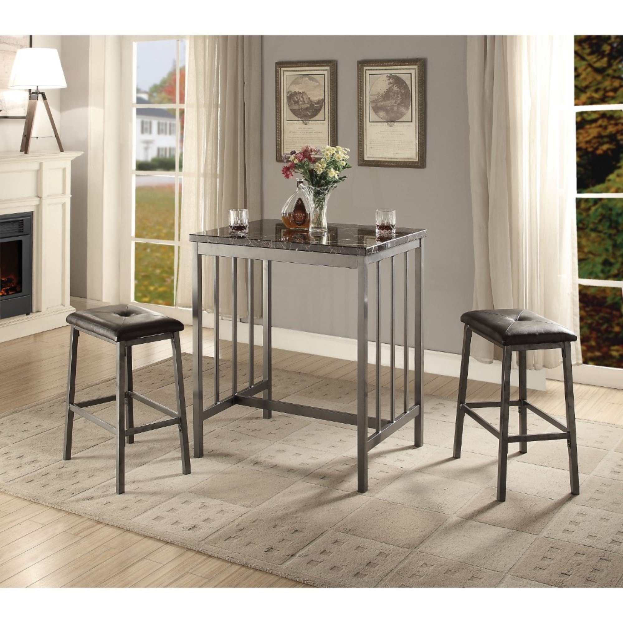 Kimbrel Transitional Faux Marble And Metal Counter Height 3 Piece Pub Table  Set Throughout Current Mizpah 3 Piece Counter Height Dining Sets (Image 13 of 20)