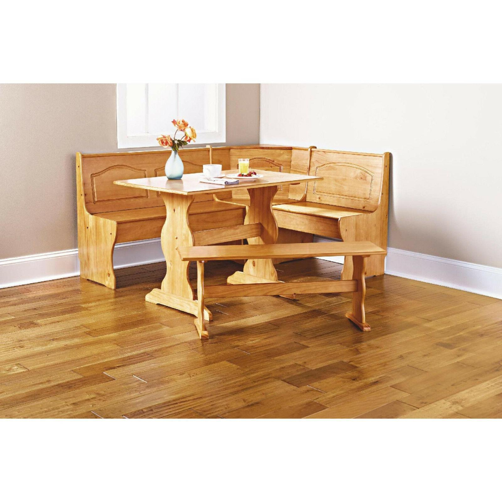 Kitchen Nook Solid Wood Corner Dining Breakfast Set For 2017 Ligon 3 Piece Breakfast Nook Dining Sets (View 14 of 20)