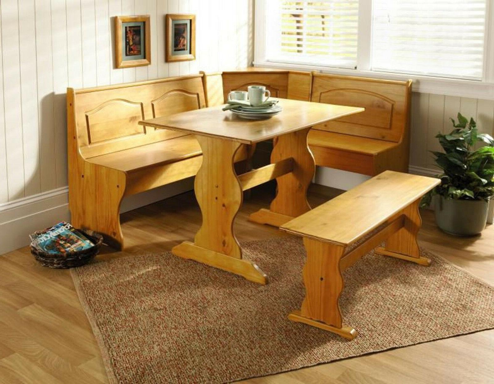 Kitchen Nook Solid Wood Corner Dining Breakfast Set Pertaining To Most Recent Ligon 3 Piece Breakfast Nook Dining Sets (Image 12 of 20)