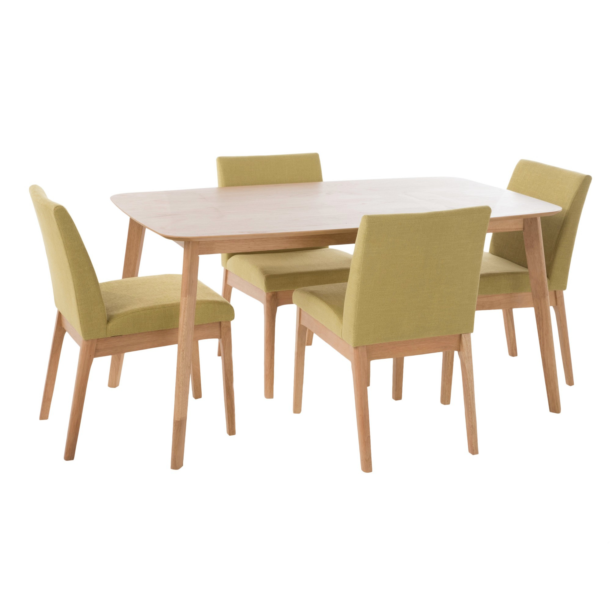 Kwame 60 5 – Piece Dining Set – Natural Oak/green Tea – Christopher For Latest Telauges 5 Piece Dining Sets (View 12 of 20)