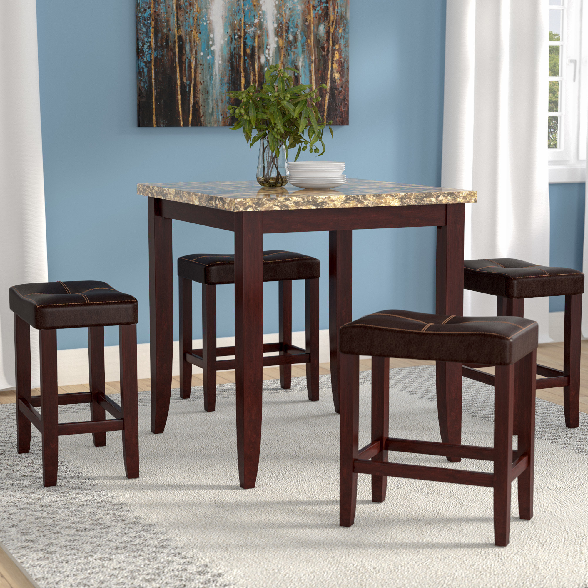 Latitude Run Dejean 5 Piece Counter Height Dining Set Inside 2018 Moorehead 3 Piece Counter Height Dining Sets (View 8 of 20)