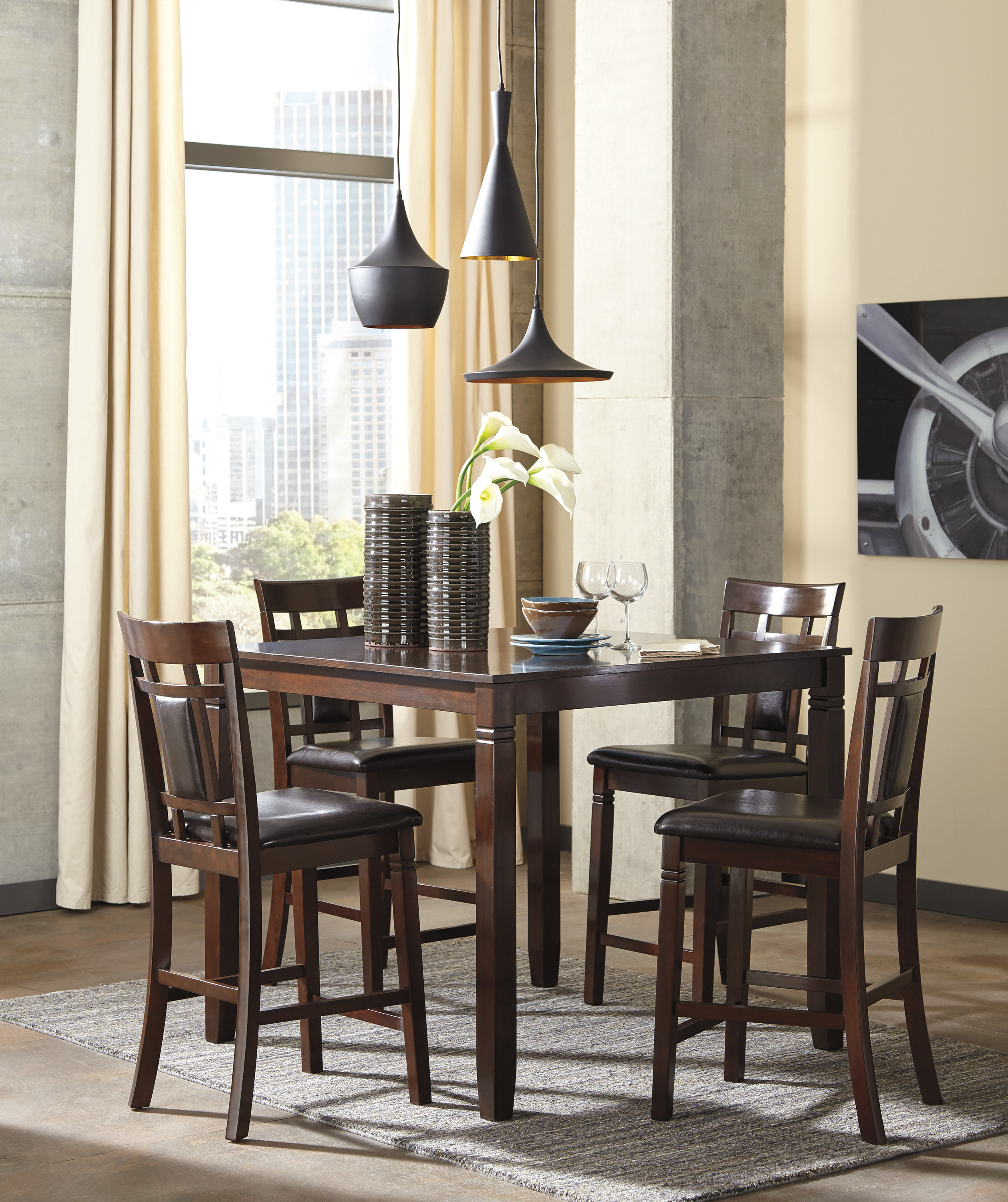 Leger 5 Piece Counter Height Dining Set Within Best And Newest Bryson 5 Piece Dining Sets (Photo 19 of 20)