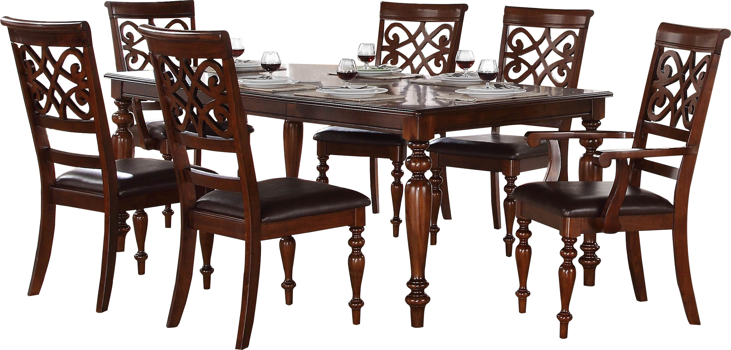 Leith 7 Piece Dining Set With Most Recent Laconia 7 Pieces Solid Wood Dining Sets (Set Of 7) (View 14 of 20)