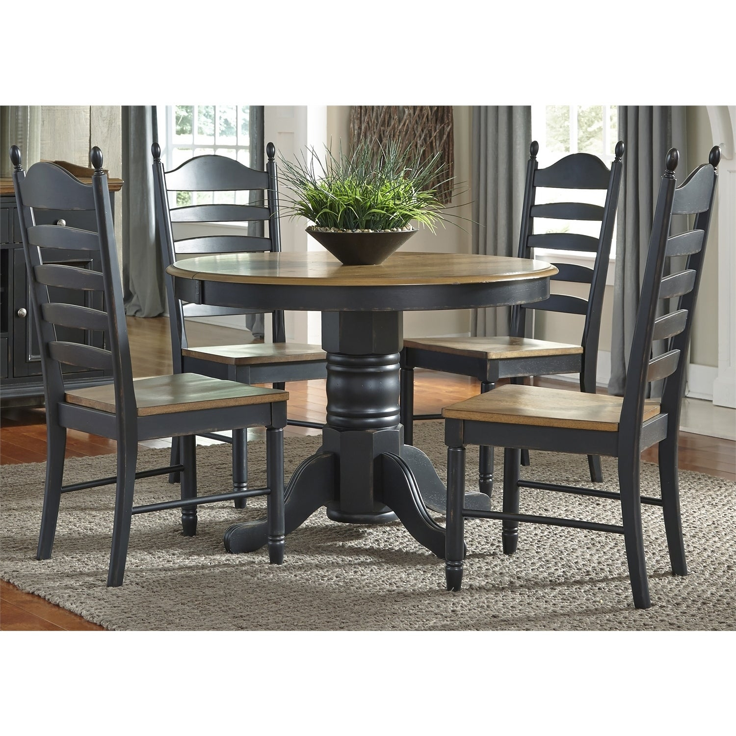Liberty Honey And Black Oval Pedestal 5 Piece Dinette Set Throughout Most Recent Springfield 3 Piece Dining Sets (View 7 of 20)