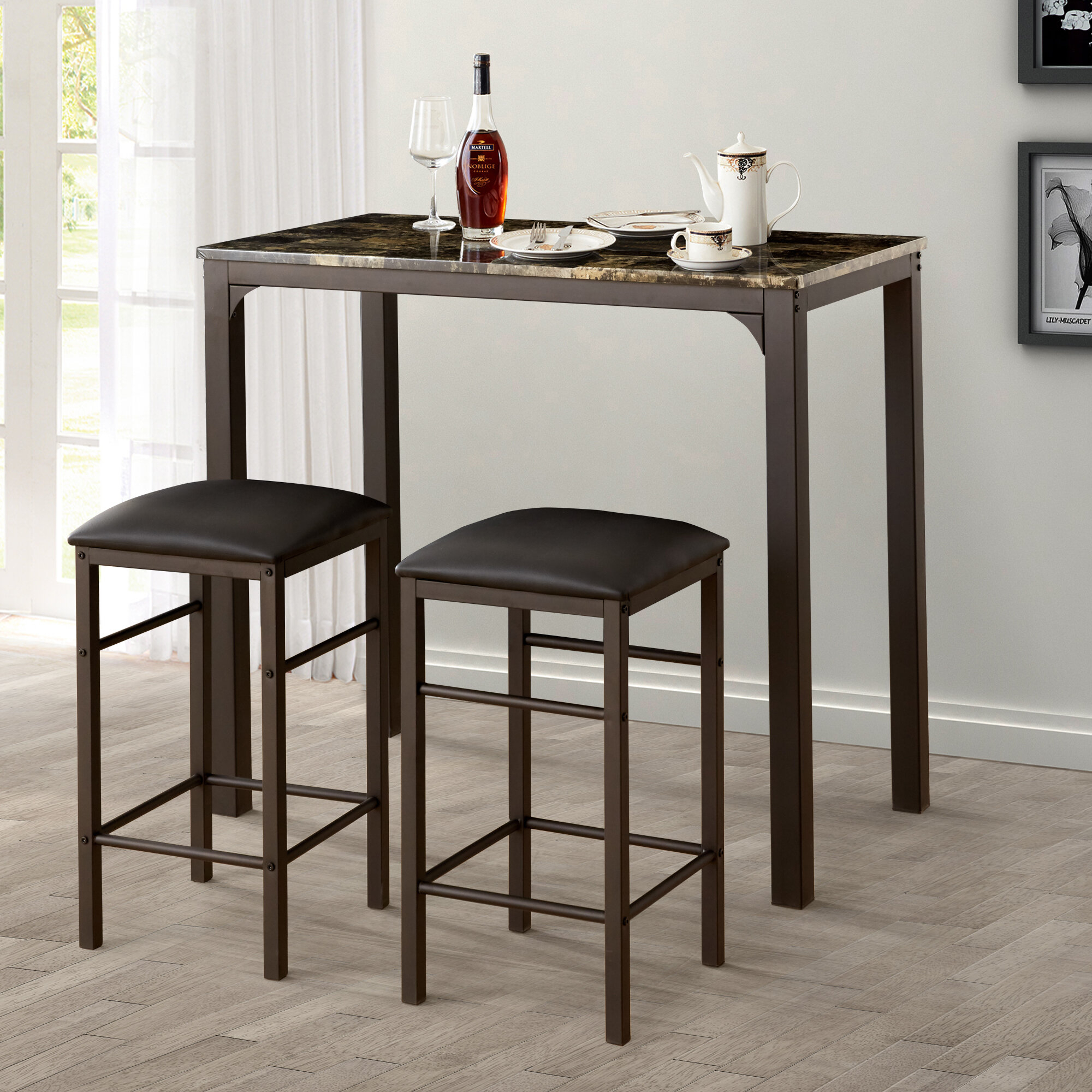 Lillard 3 Piece Breakfast Nook Dining Set In Most Recently Released Kernville 3 Piece Counter Height Dining Sets (Image 10 of 20)