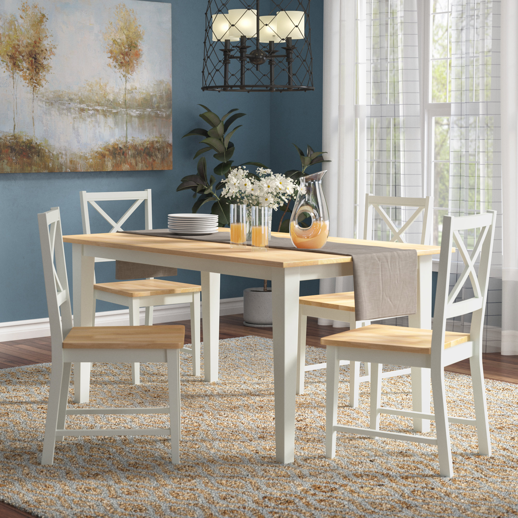Livesay Crossback 5 Piece Dining Set Inside Most Up To Date Yedinak 5 Piece Solid Wood Dining Sets (Photo 9 of 20)