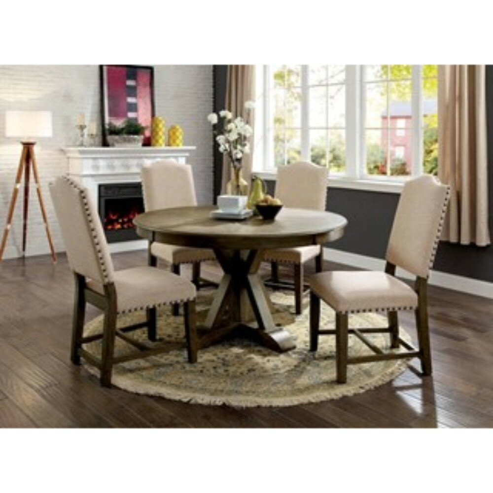 Lowell 5 Piece Solid Wood Dining Set Throughout Latest Valladares 3 Piece Pub Table Sets (View 10 of 20)