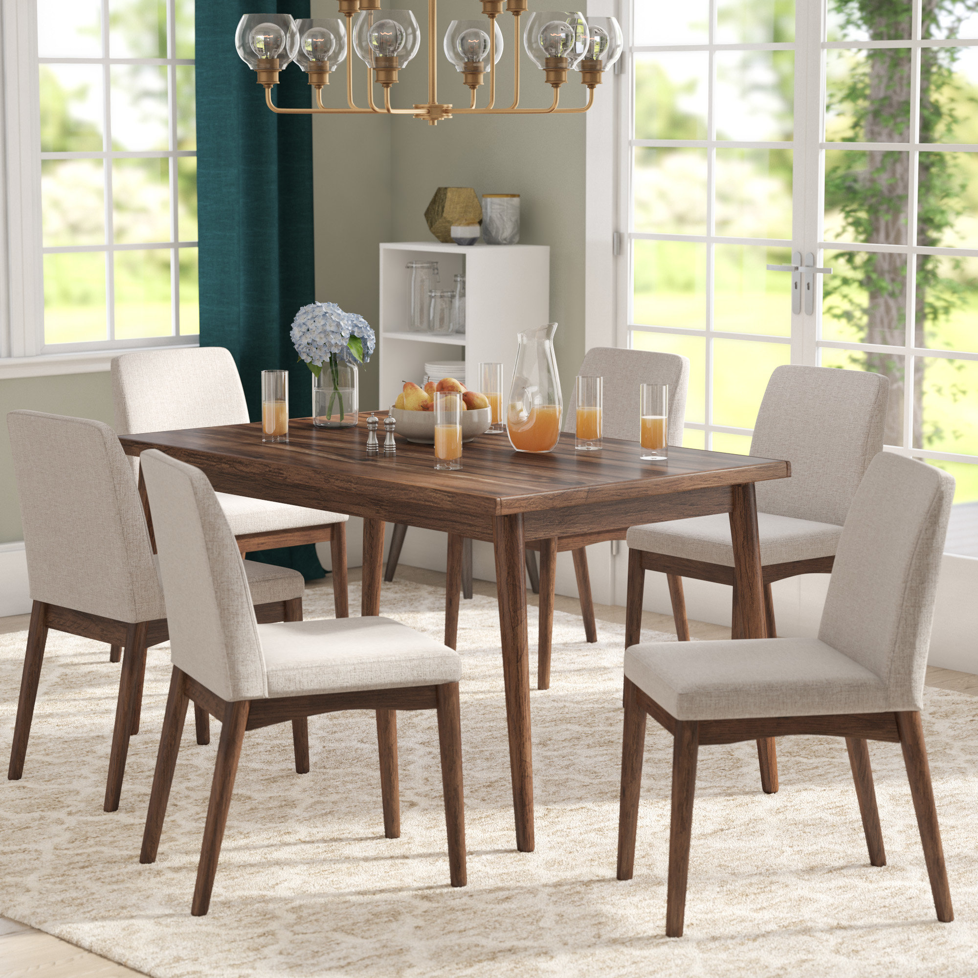 Lydia 7 Piece Dining Set Regarding Most Recent Tavarez 5 Piece Dining Sets (Image 12 of 20)