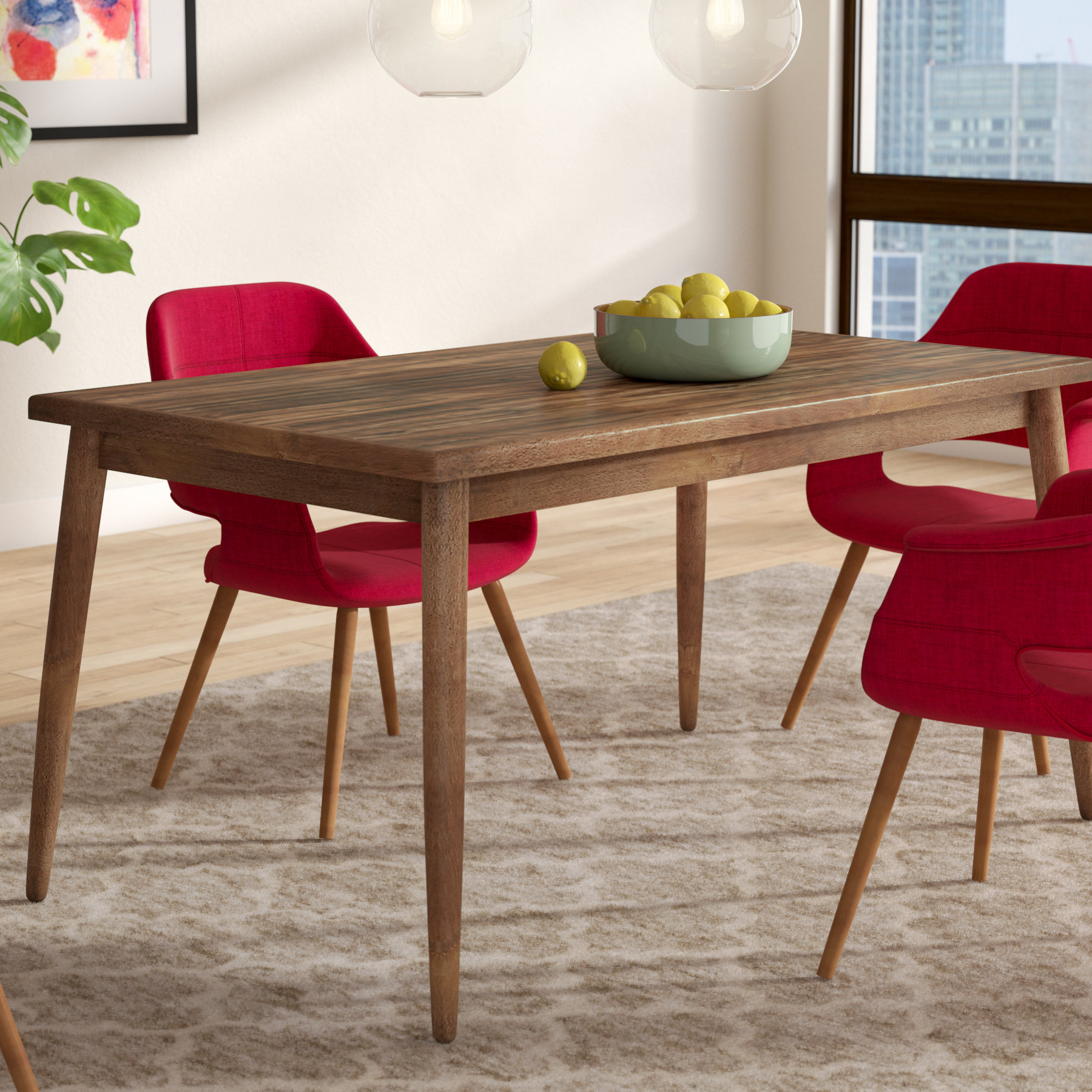 Lydia Dining Table For Best And Newest Amir 5 Piece Solid Wood Dining Sets (Set Of 5) (View 11 of 20)