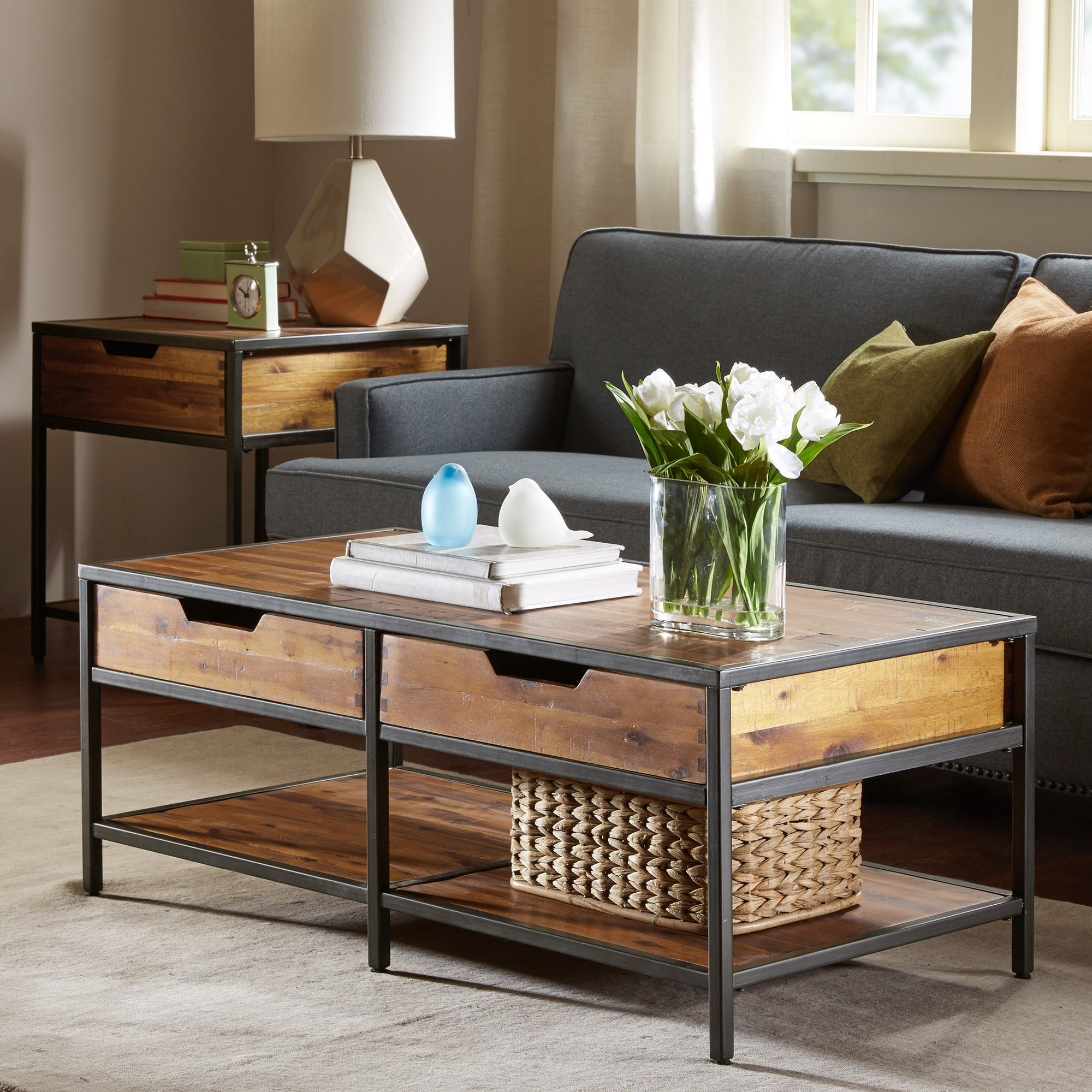 Madison Park Ryker Natural/ Graphite Coffee Table For 2017 Ryker 3 Piece Dining Sets (Photo 20 of 20)