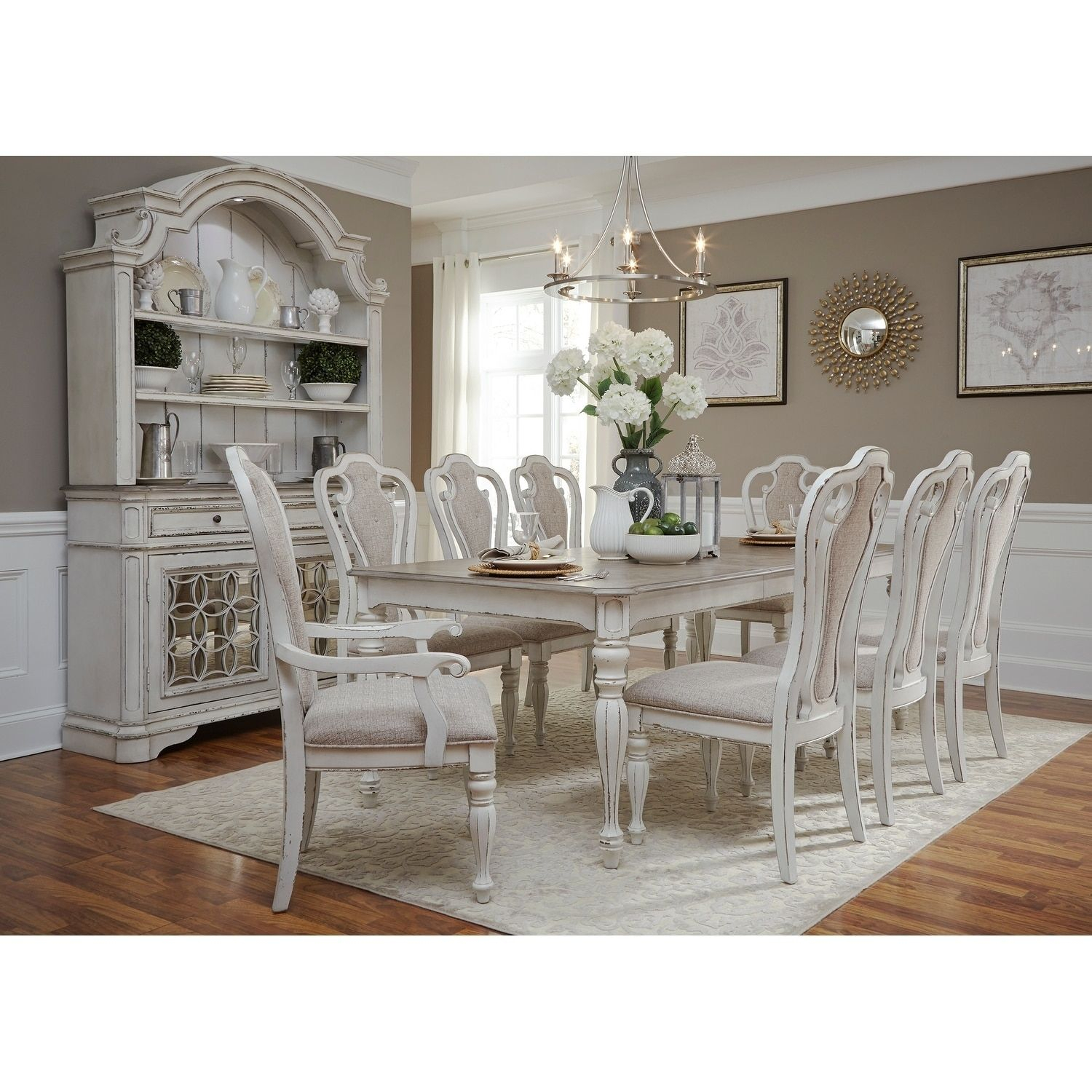 Magnolia Manor Antique White 7 Piece Splat Back Rectangular Dinette Within Best And Newest Mitzel 3 Piece Dining Sets (Image 12 of 20)