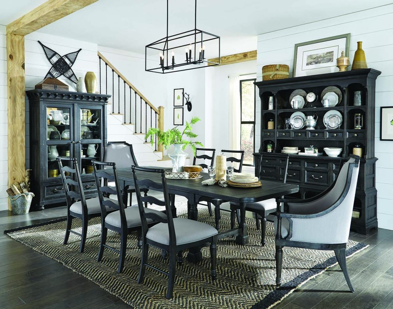 Magnussen Furniture Bedford Corners 7Pc Rectangular Dining Set In Anvil Black Inside Latest Bedfo 3 Piece Dining Sets (View 8 of 20)