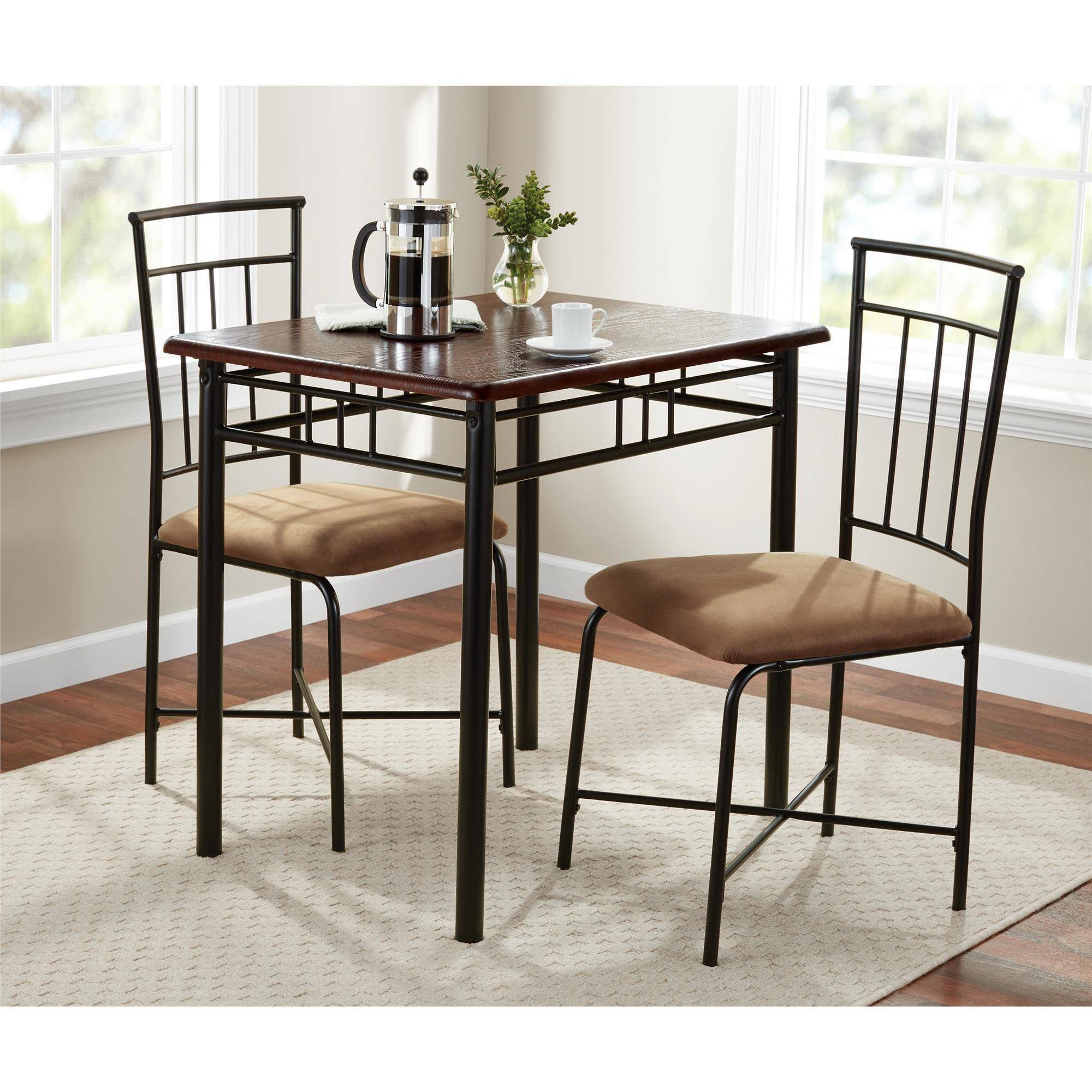 Mainstays 3 Piece Dining Set, Wood And Metal Throughout Most Recently Released Bearden 3 Piece Dining Sets (Photo 14 of 20)