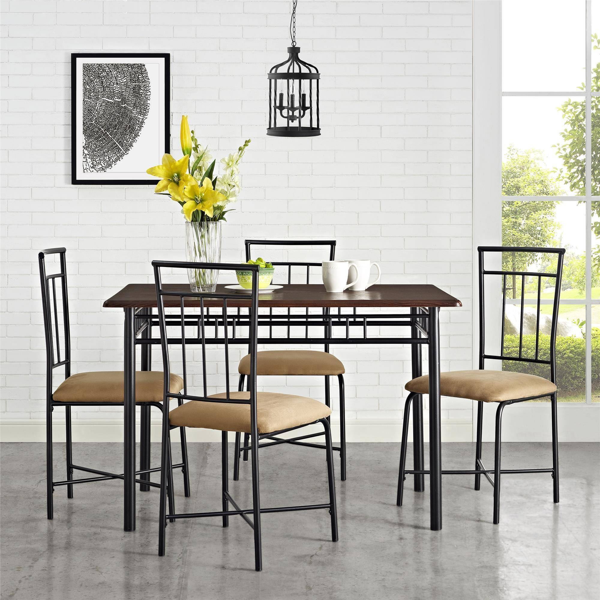 Mainstays 5 Piece Dining Set, Multiple Colors Pertaining To Most Popular West Hill Family Table 3 Piece Dining Sets (View 7 of 20)